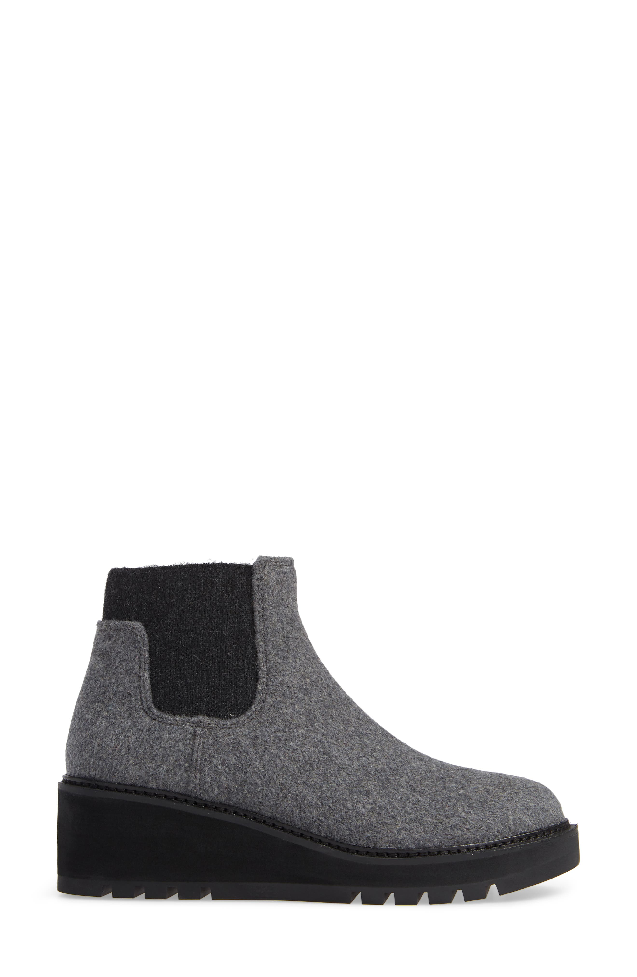 Wedge Chelsea Bootie,                             Alternate thumbnail 3, color,                             CHARCOAL FABRIC