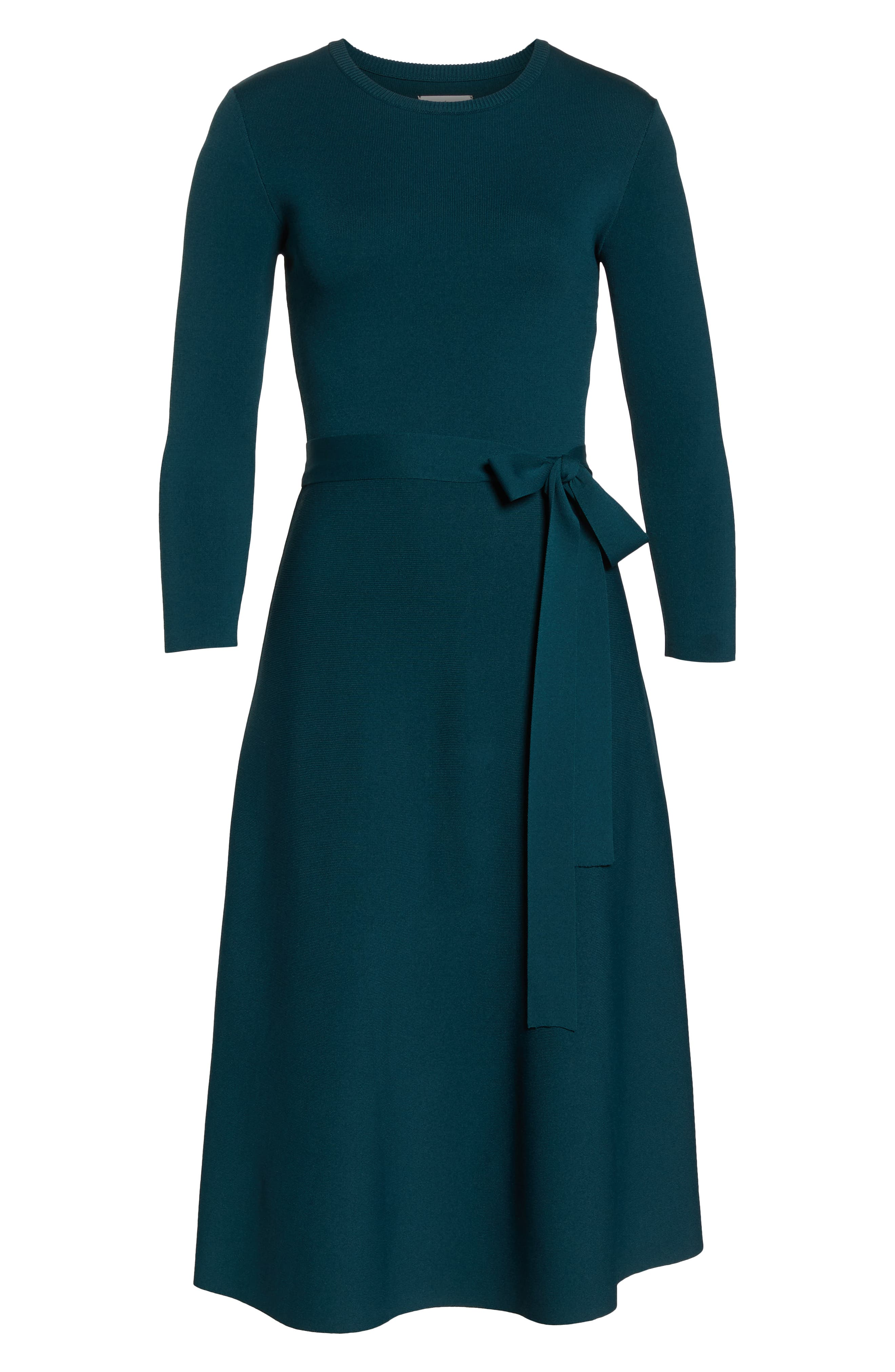 Fit & Flare Sweater Dress,                             Alternate thumbnail 7, color,                             SPRUCE