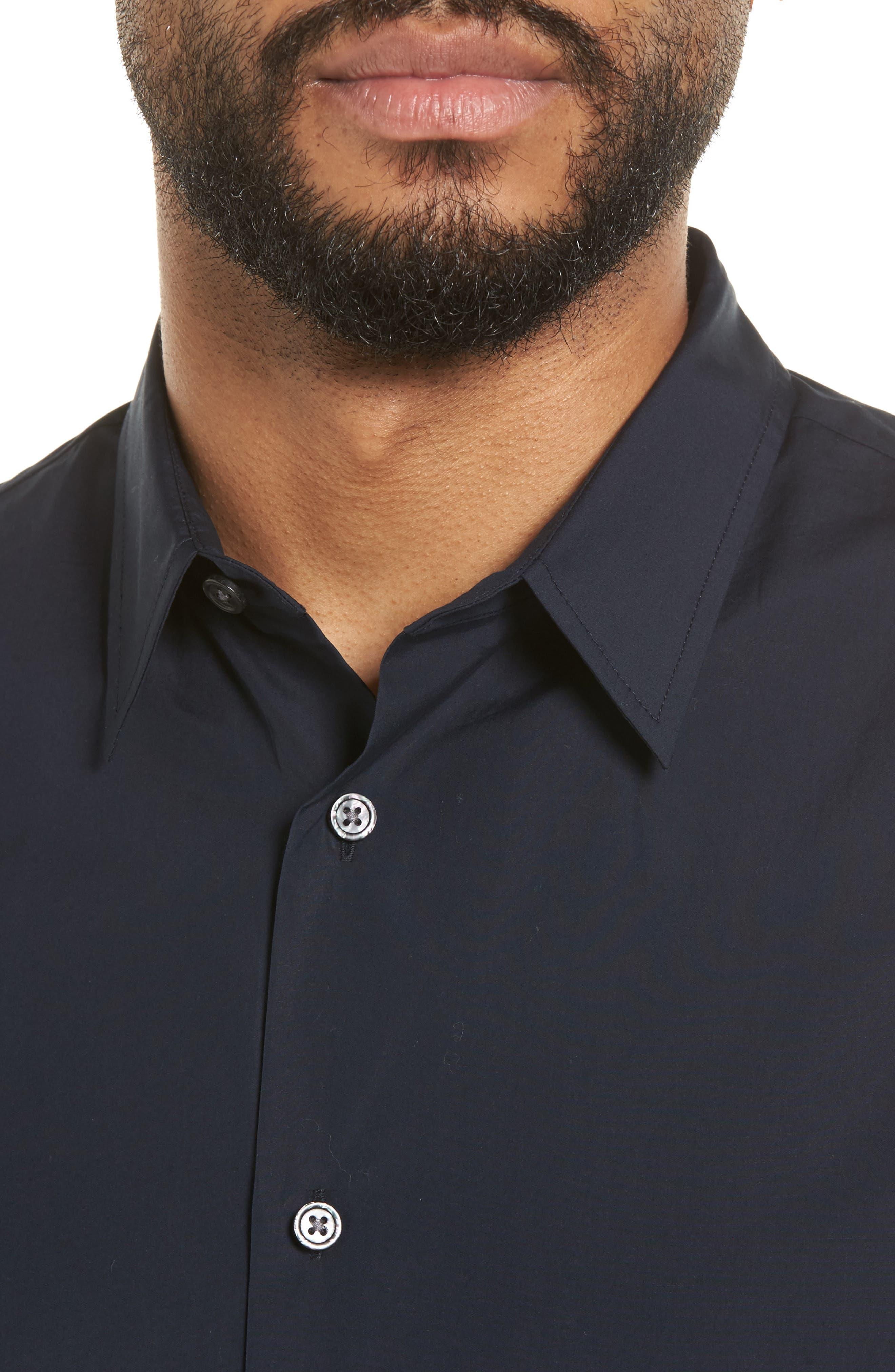 Poplin Slim Fit Sport Shirt,                             Alternate thumbnail 4, color,                             400