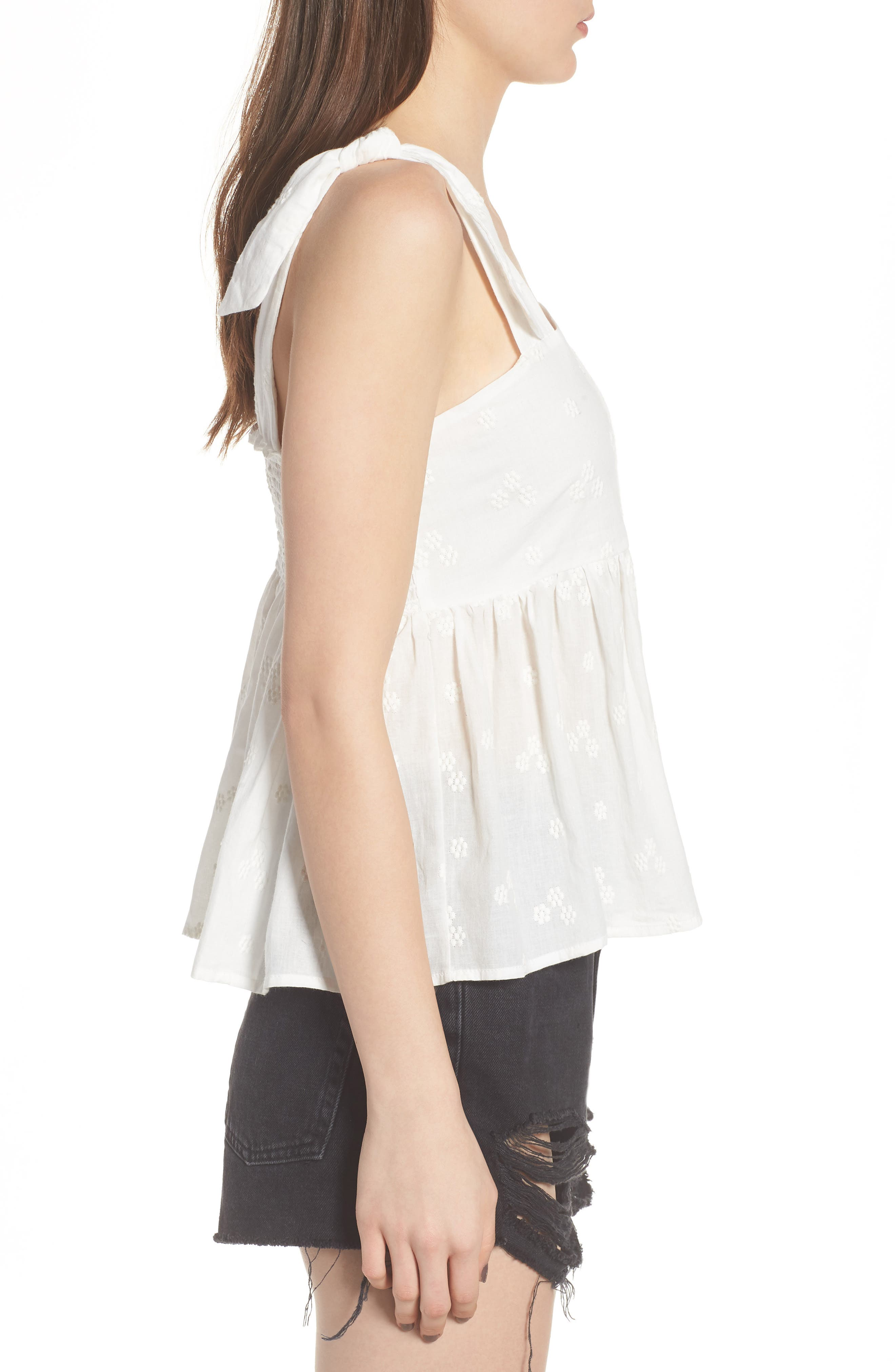 Embroidered Peplum Tank,                             Alternate thumbnail 8, color,