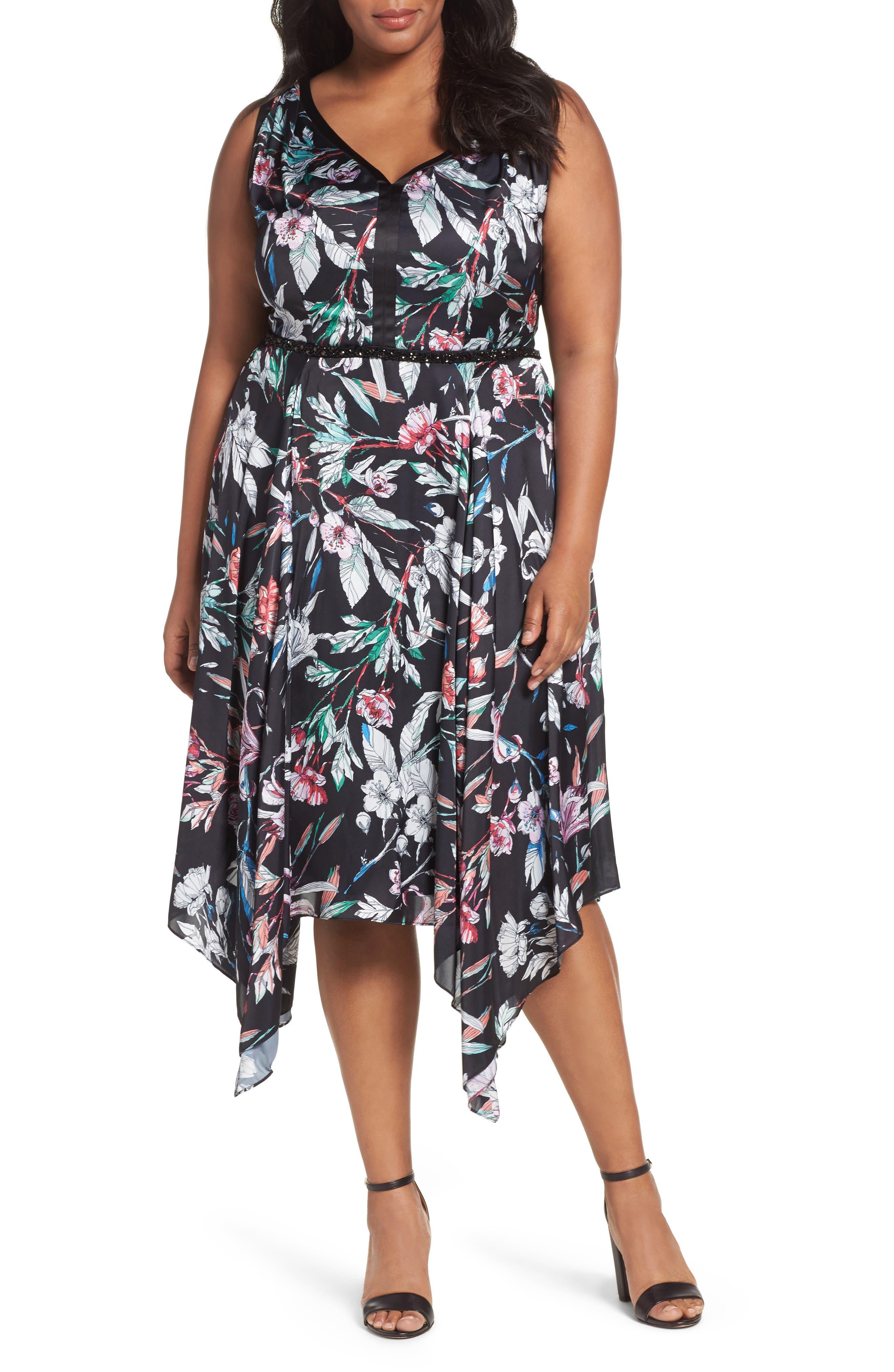 Print Satin Chiffon Handkerchief Dress,                             Main thumbnail 1, color,                             BLACK MULTI