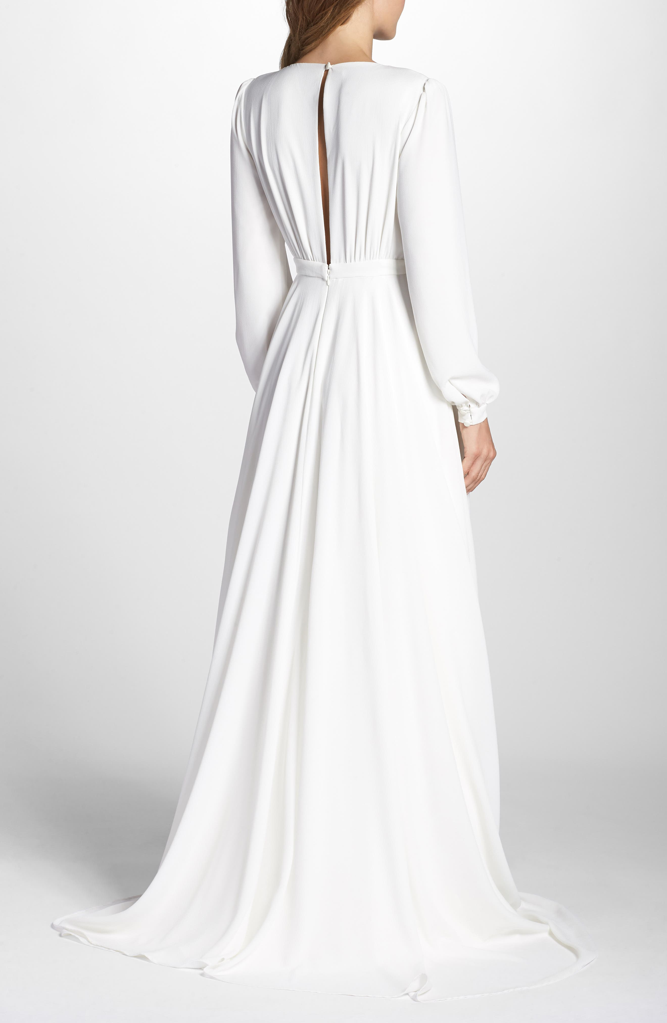 Floyd V-Neck Long Sleeve Gown,                             Alternate thumbnail 2, color,                             WHITE