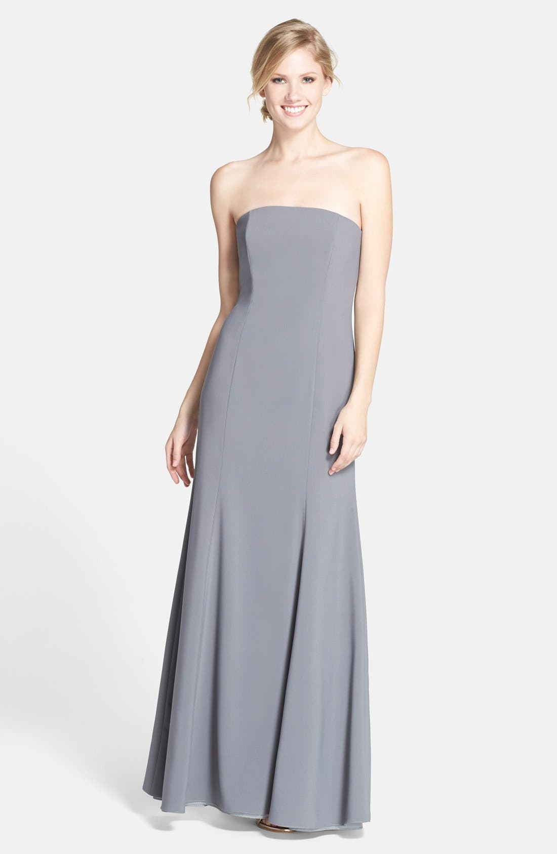 Strapless Crepe Trumpet Gown,                             Main thumbnail 1, color,