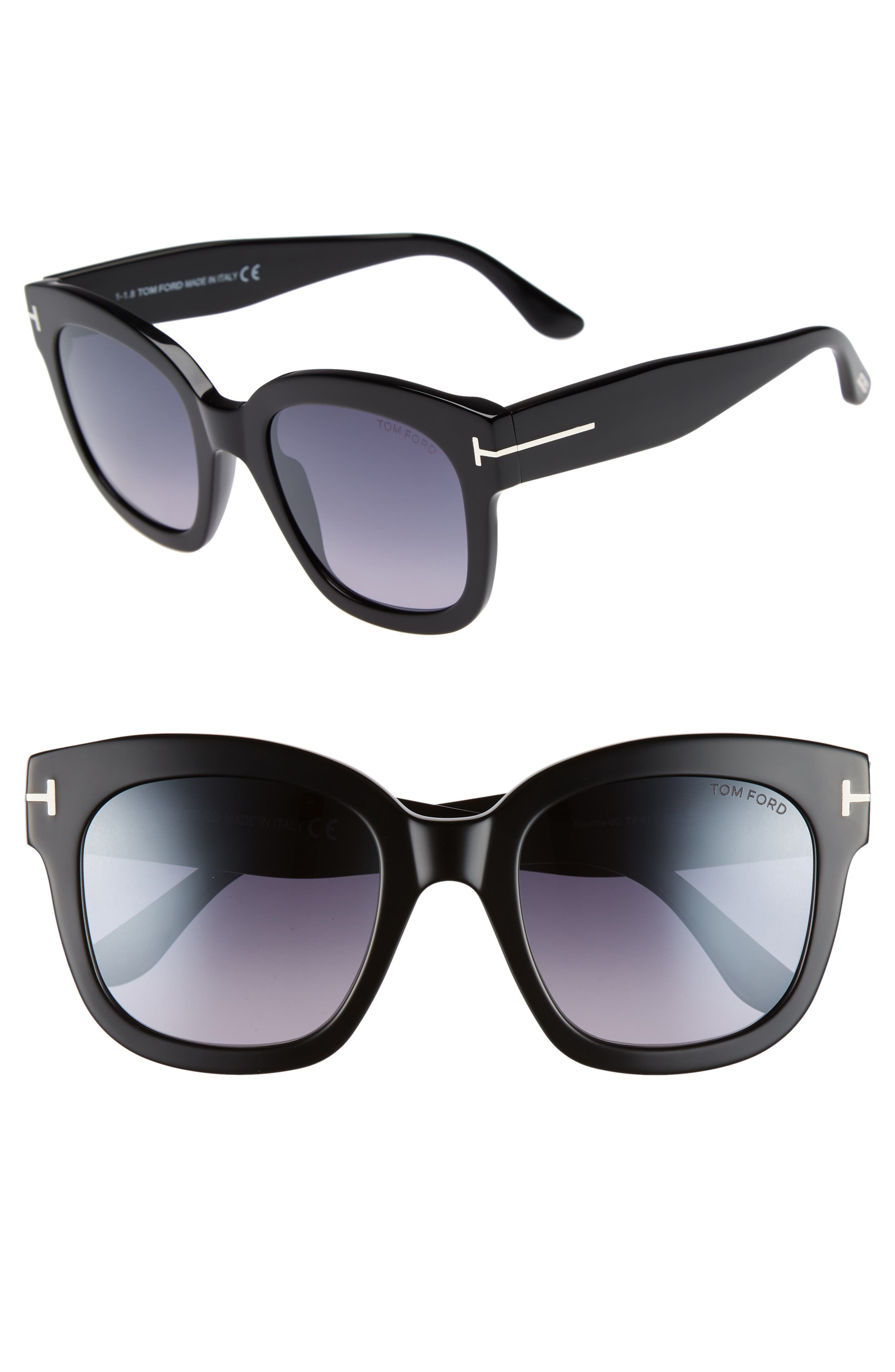 Beatrix 52mm Sunglasses,                             Main thumbnail 1, color,                             SHINY BLACK/ SMOKE MIRROR