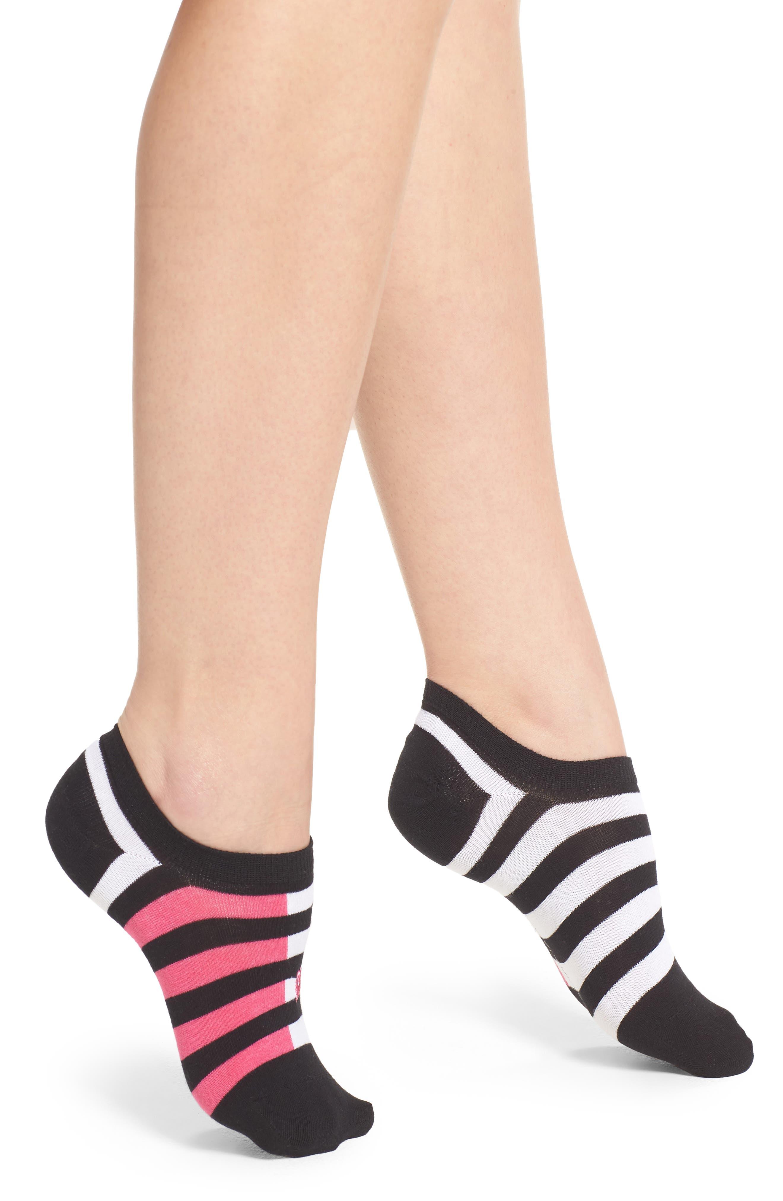 Varsity Stripe Liner Socks,                             Main thumbnail 1, color,                             001
