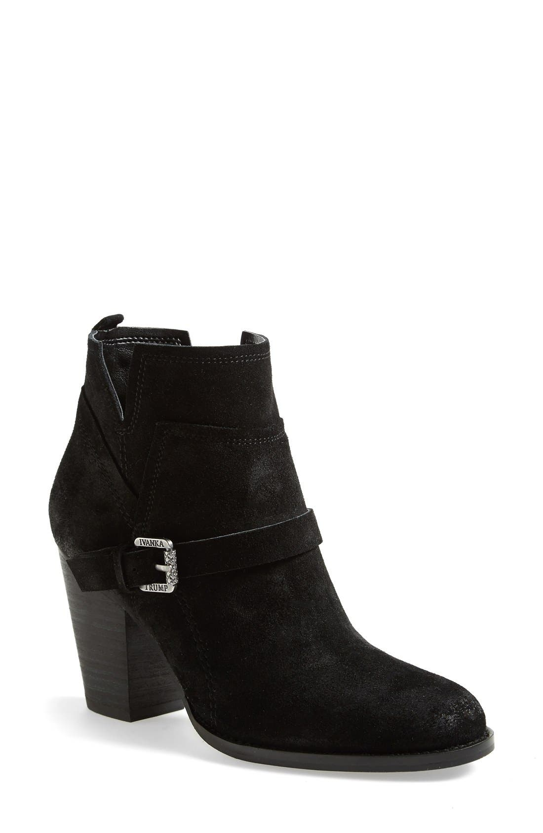 IVANKA TRUMP,                             'Frankly' Belted Round Toe Bootie,                             Main thumbnail 1, color,                             001