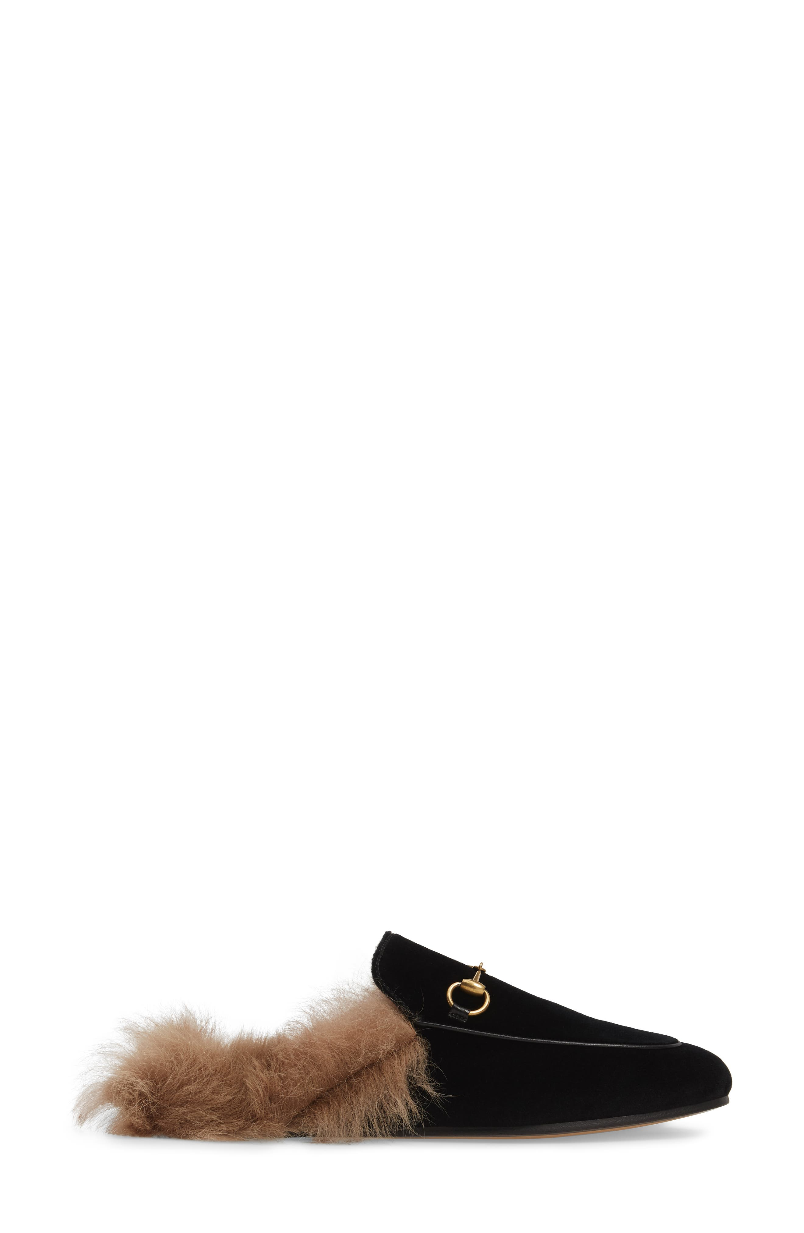 Princetown Genuine Shearling Mule Loafer,                             Alternate thumbnail 3, color,                             001