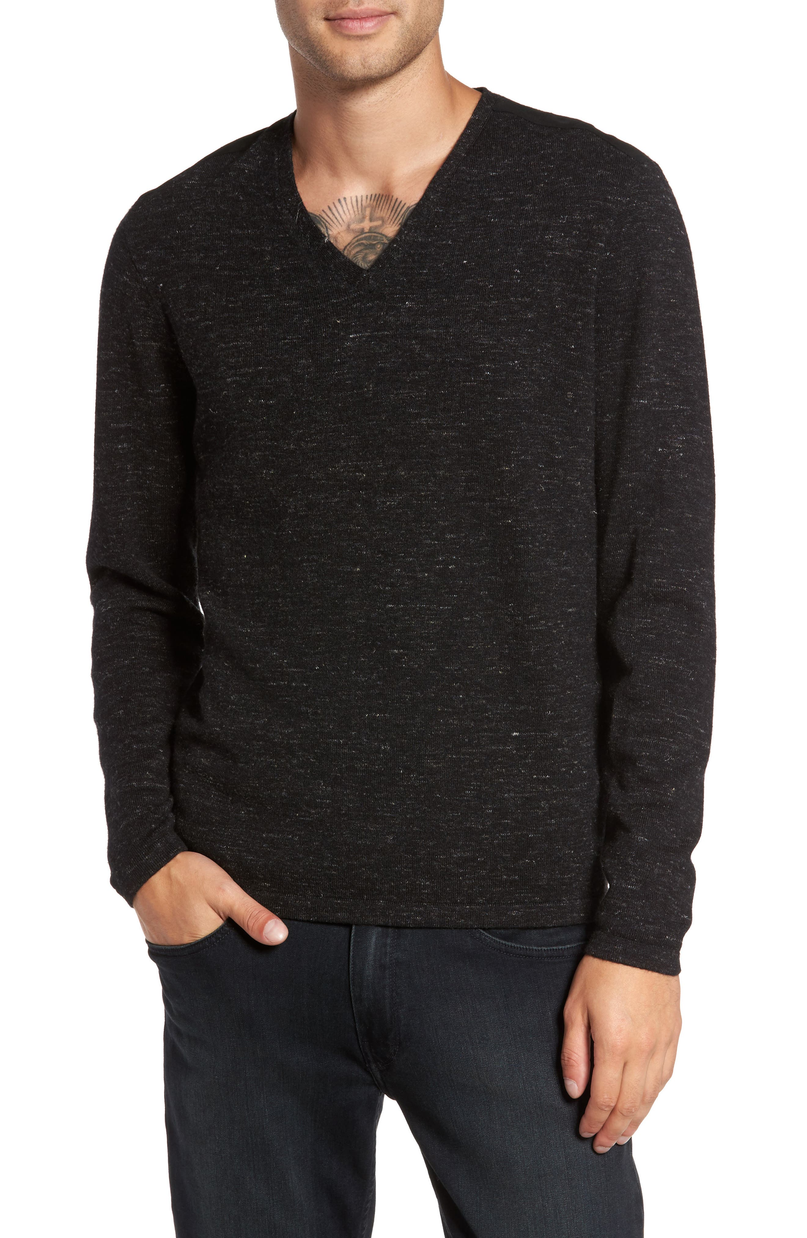 Long Sleeve V-Neck Sweater,                         Main,                         color, 001