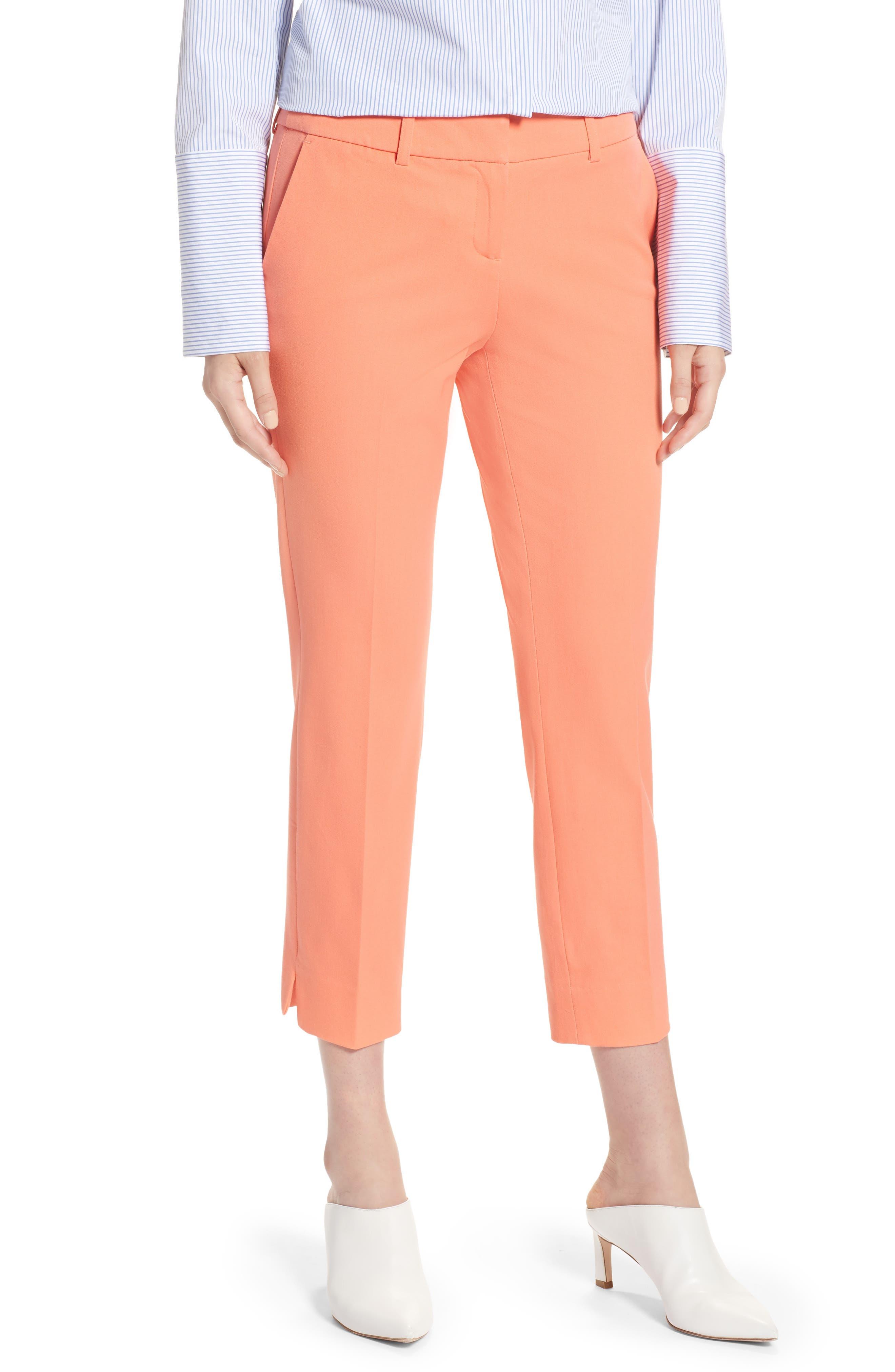 Crop Stretch Cotton Pants,                             Main thumbnail 4, color,