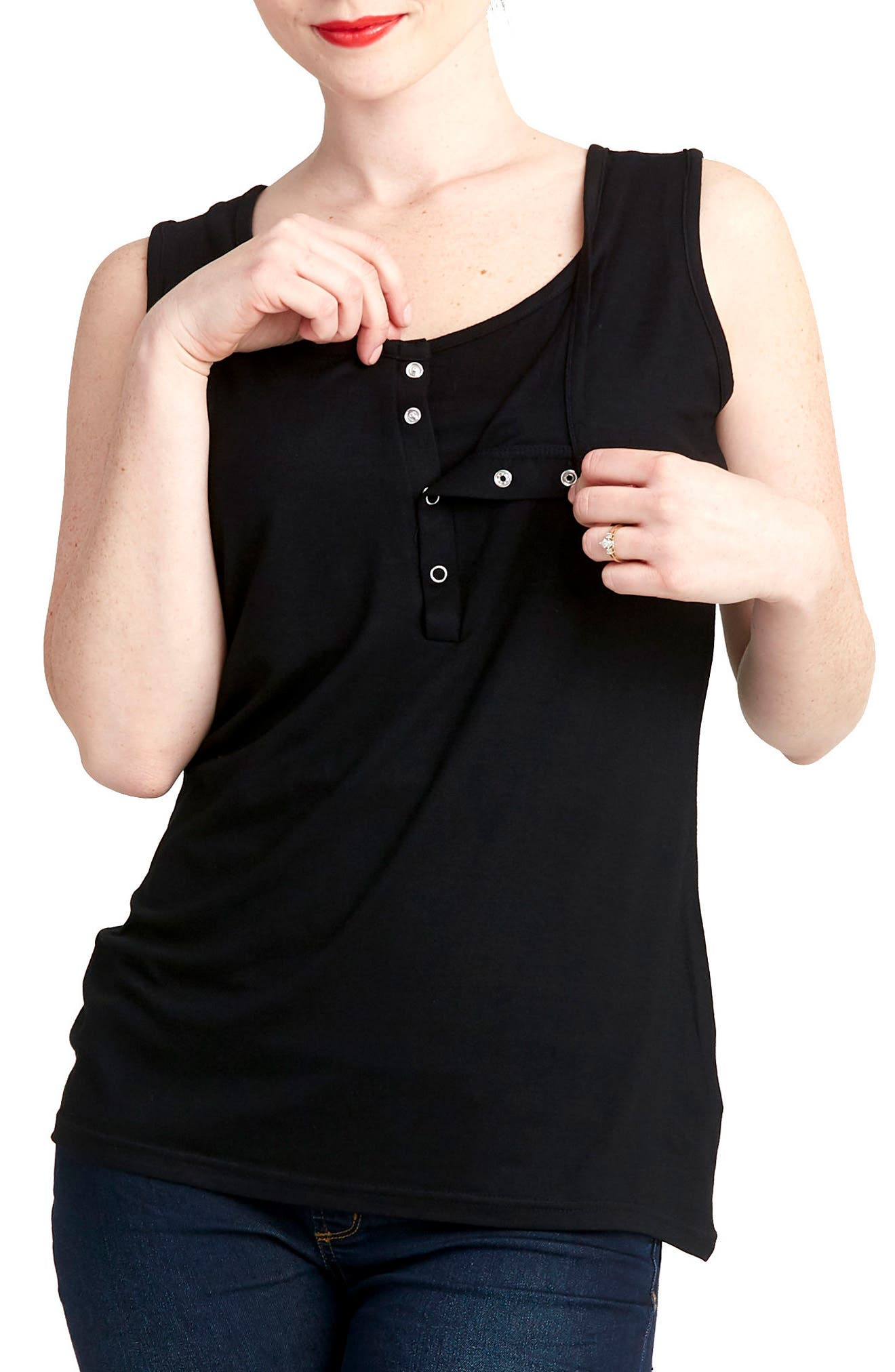 Snap Placket Maternity/Nursing Tank,                             Alternate thumbnail 2, color,                             BLACK