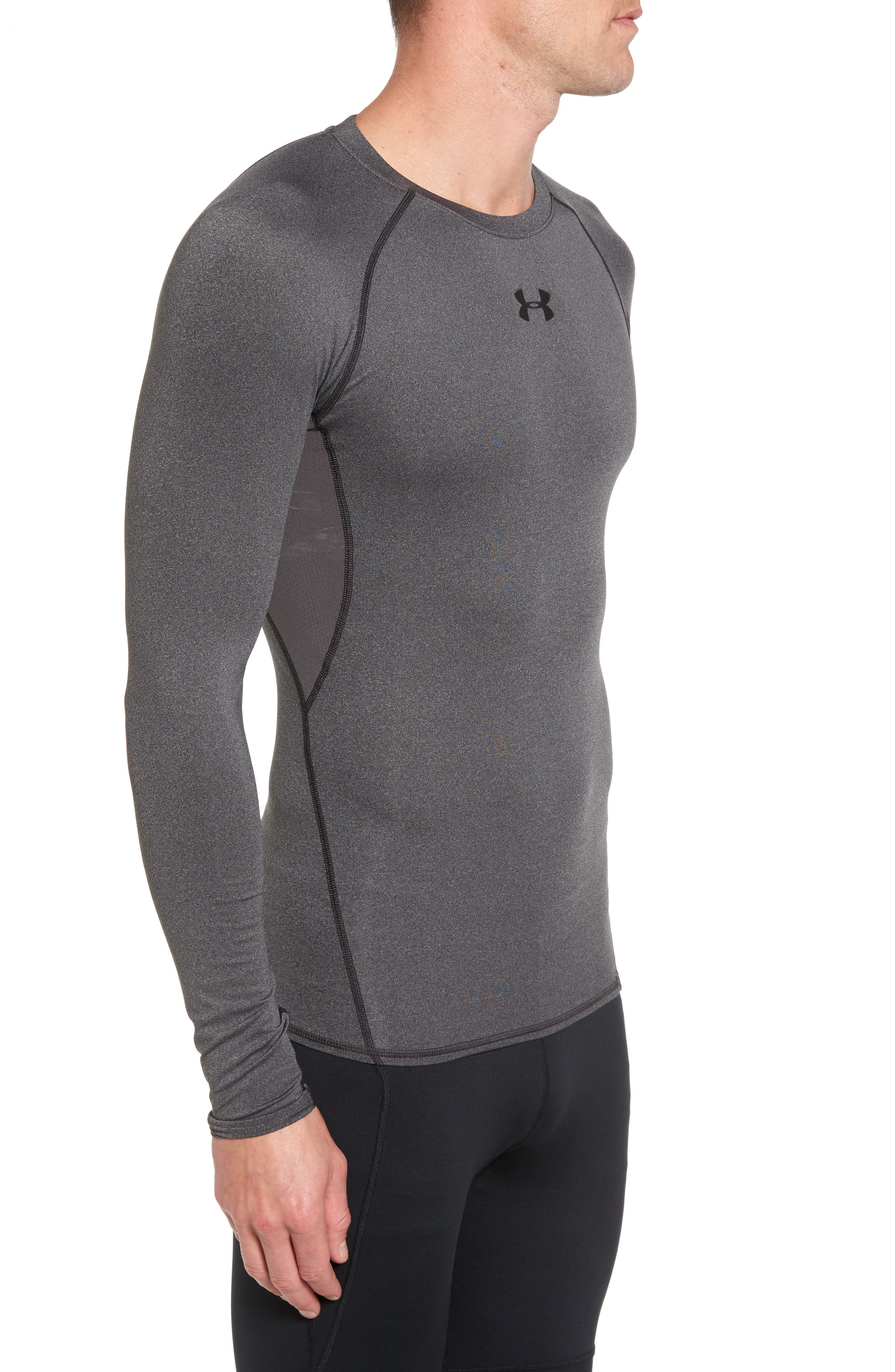 HeatGear<sup>®</sup> Compression Fit Long Sleeve T-Shirt,                             Alternate thumbnail 3, color,                             CARBON HEATHER/ BLACK