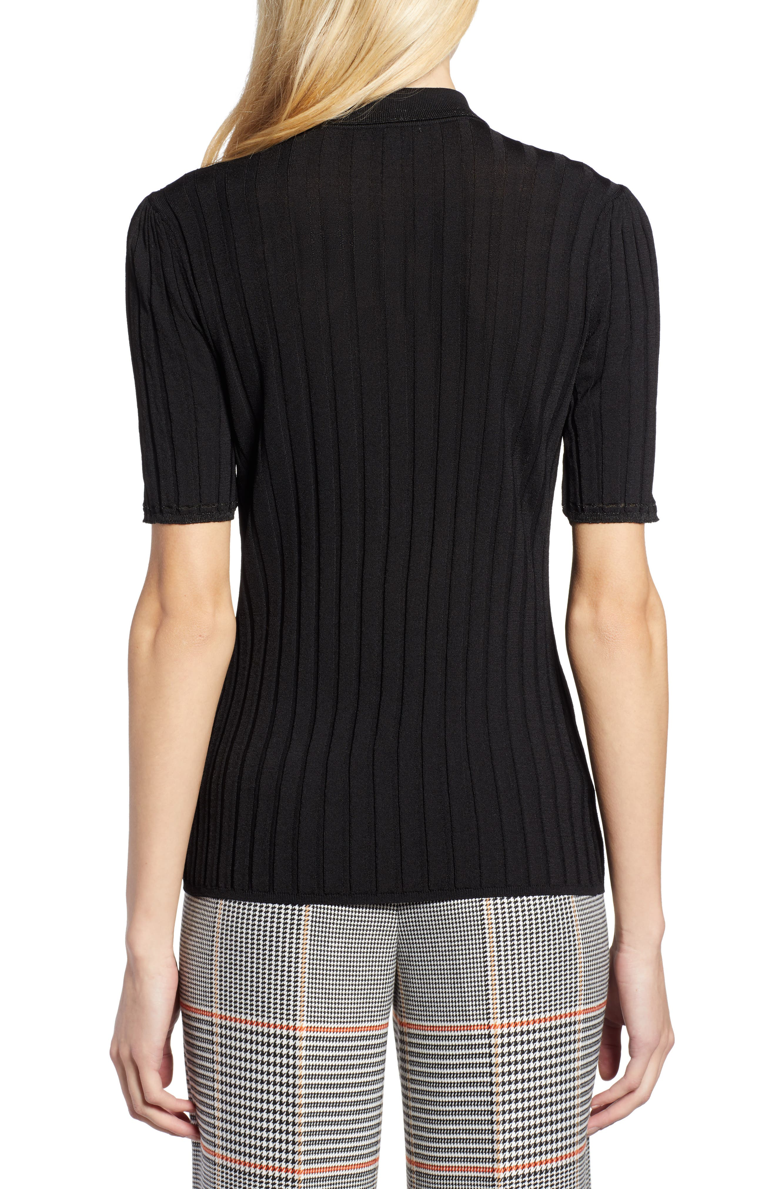 x Atlantic-Pacific Ribbed Polo Sweater,                             Alternate thumbnail 3, color,                             BLACK