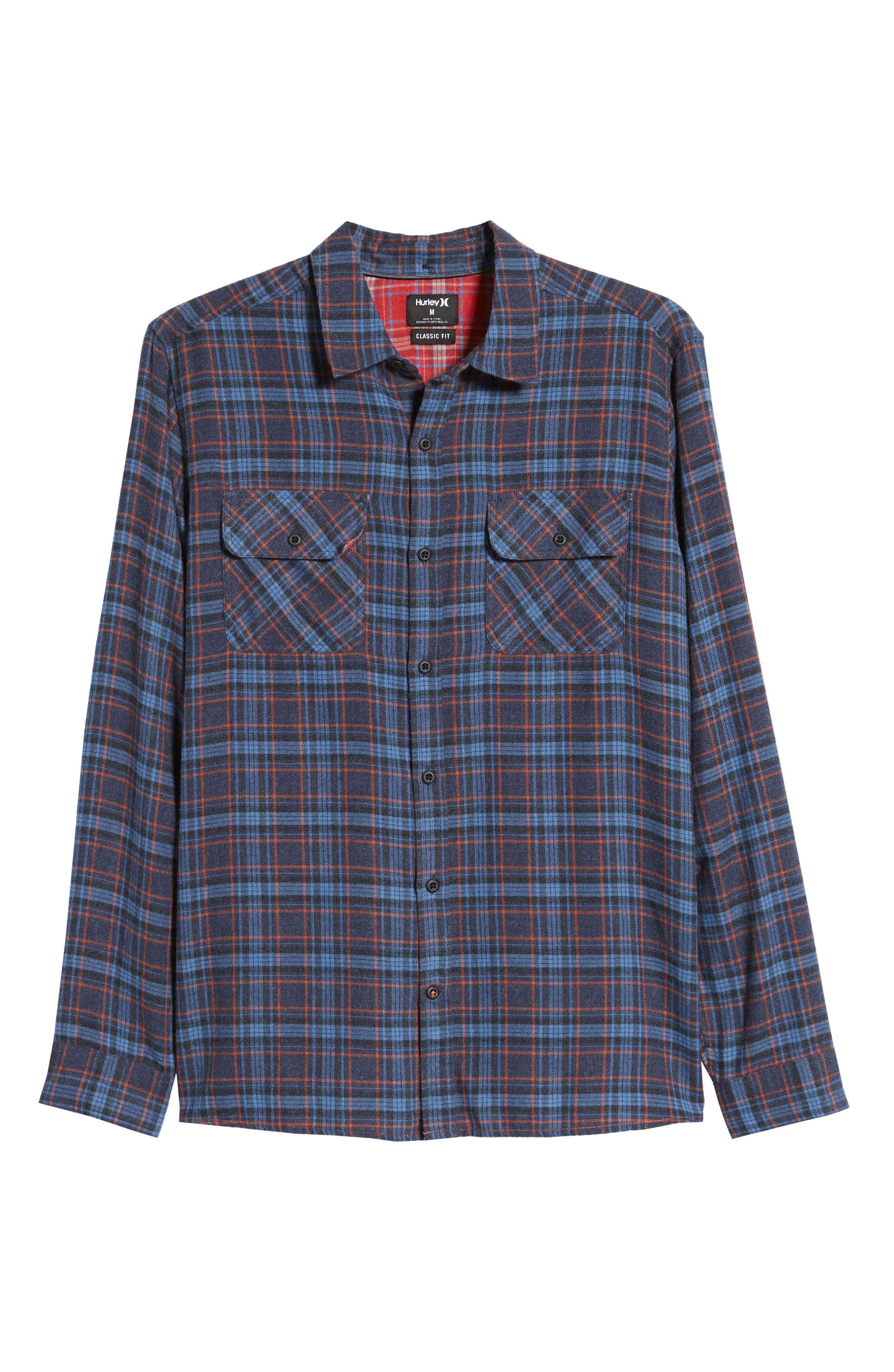 Walker Plaid Flannel Shirt,                             Alternate thumbnail 5, color,                             OIL GREY