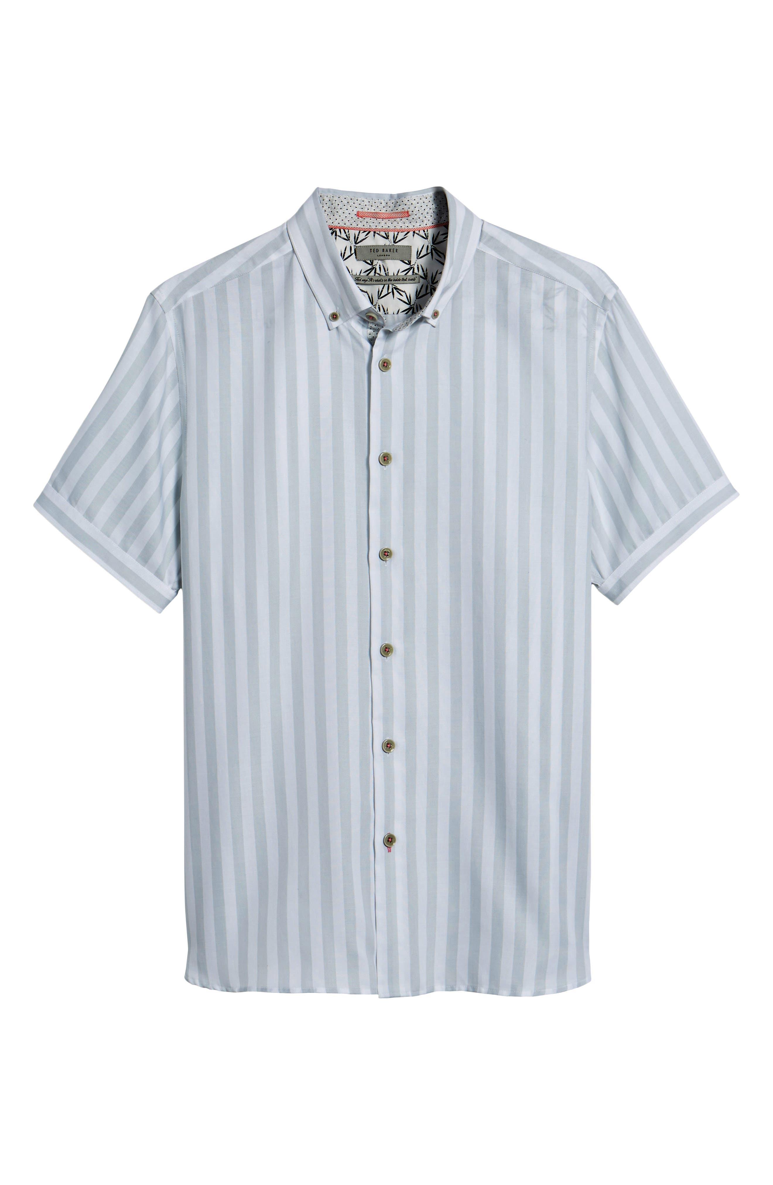 TED BAKER LONDON,                             Vertical Stripe Trim Fit Short Sleeve Sport Shirt,                             Alternate thumbnail 6, color,                             311