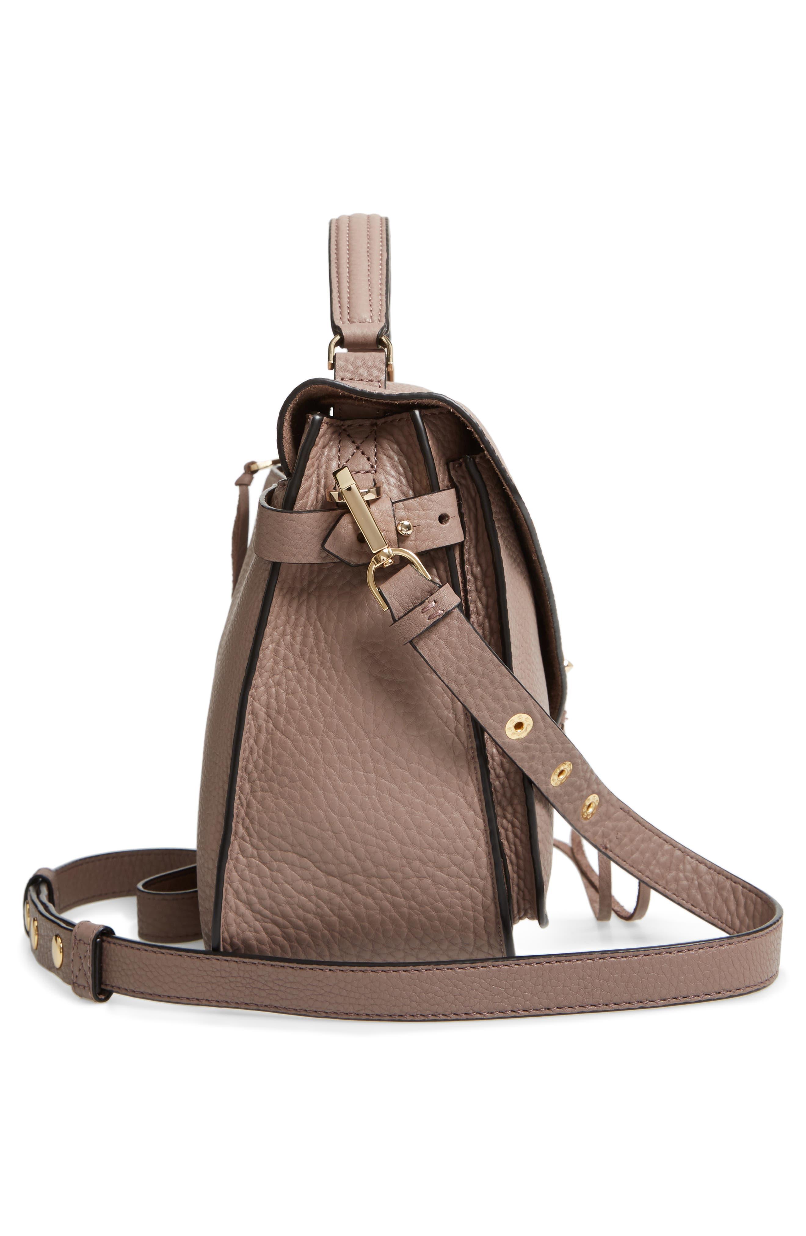 Darren Leather Messenger Bag,                             Alternate thumbnail 5, color,                             MINK