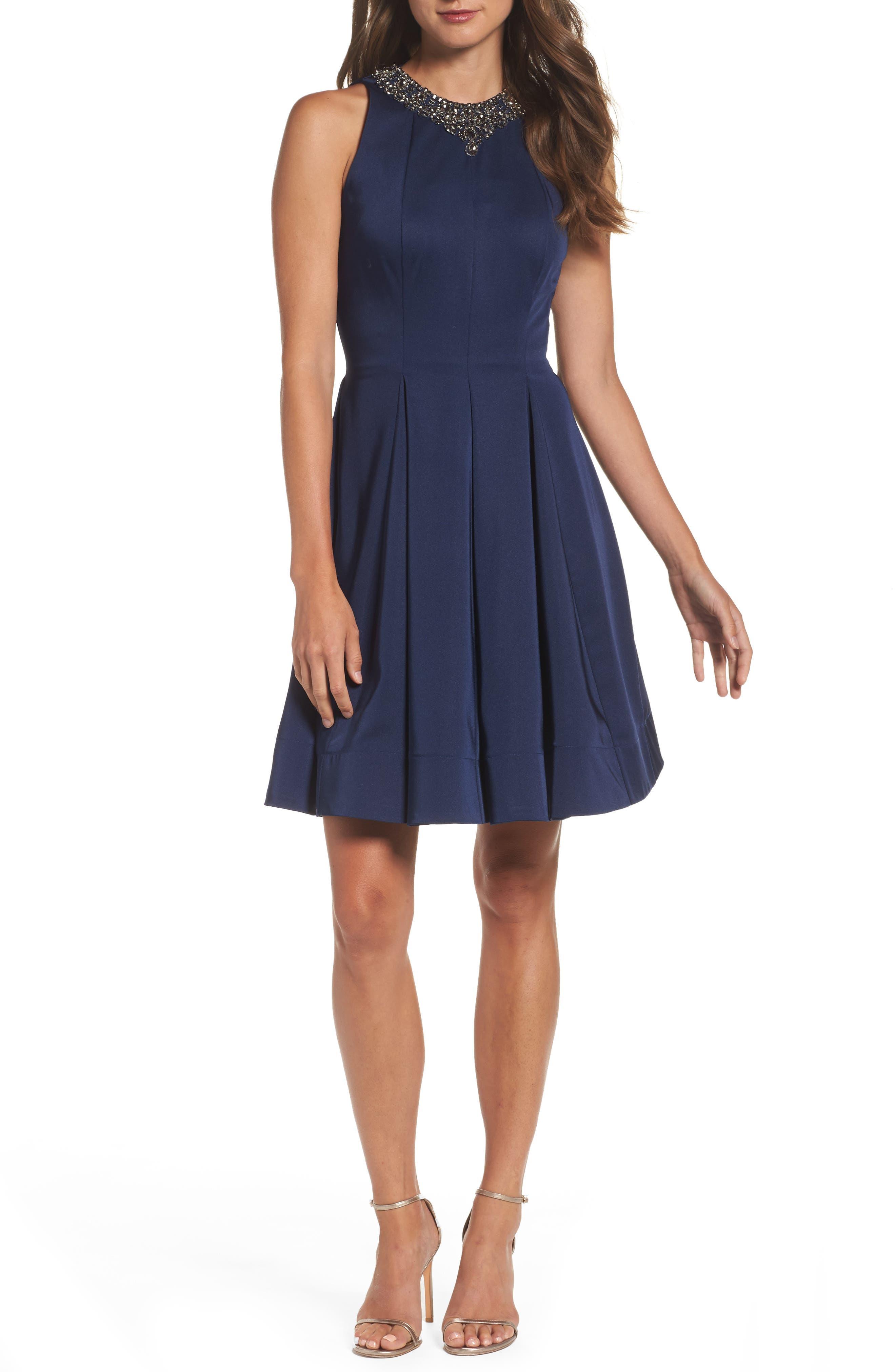 Embellished Fit & Flare Dress,                             Alternate thumbnail 5, color,                             EMERALD