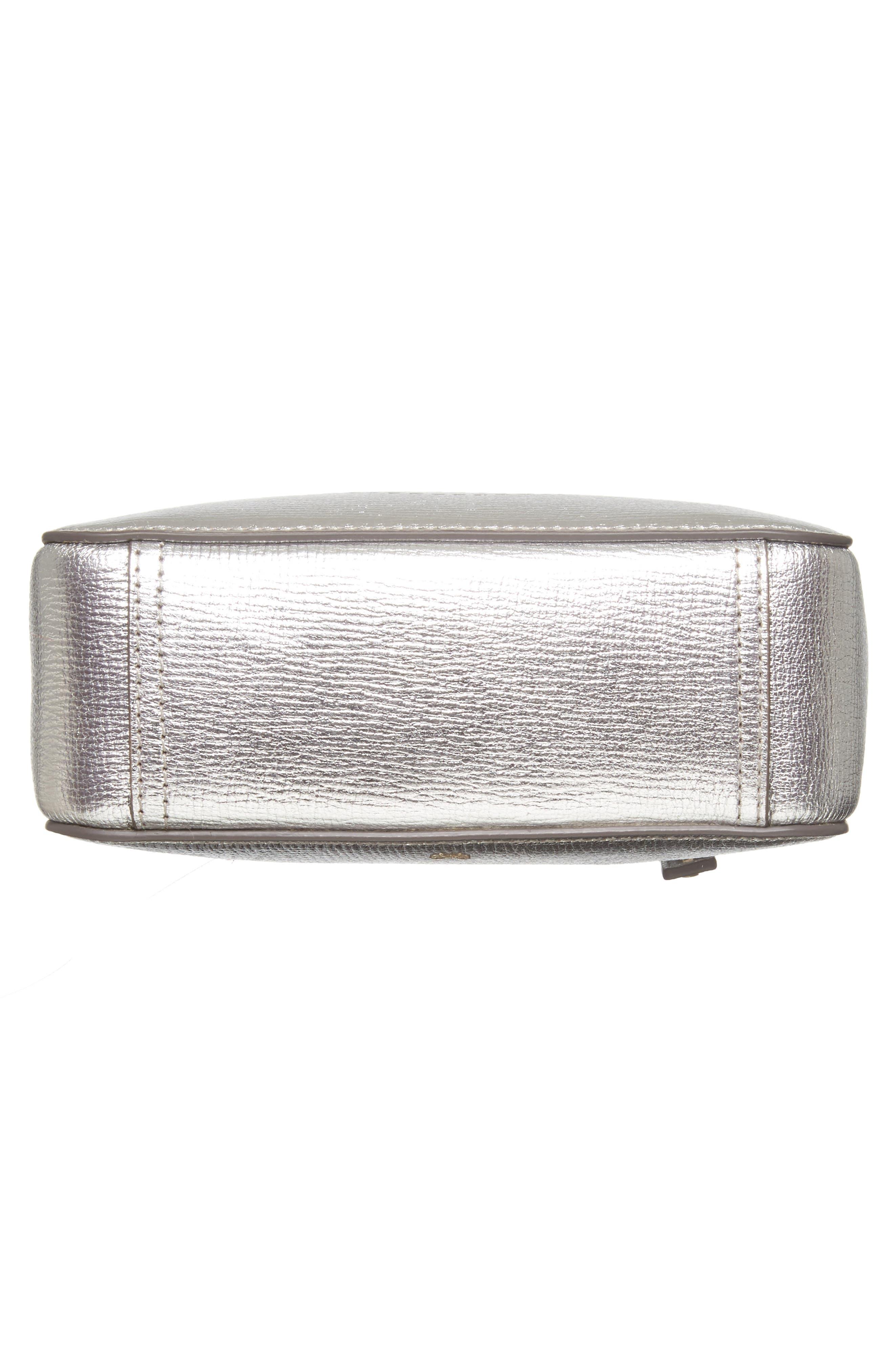 Smiley Metallic Leather Crossbody Bag,                             Alternate thumbnail 6, color,                             040