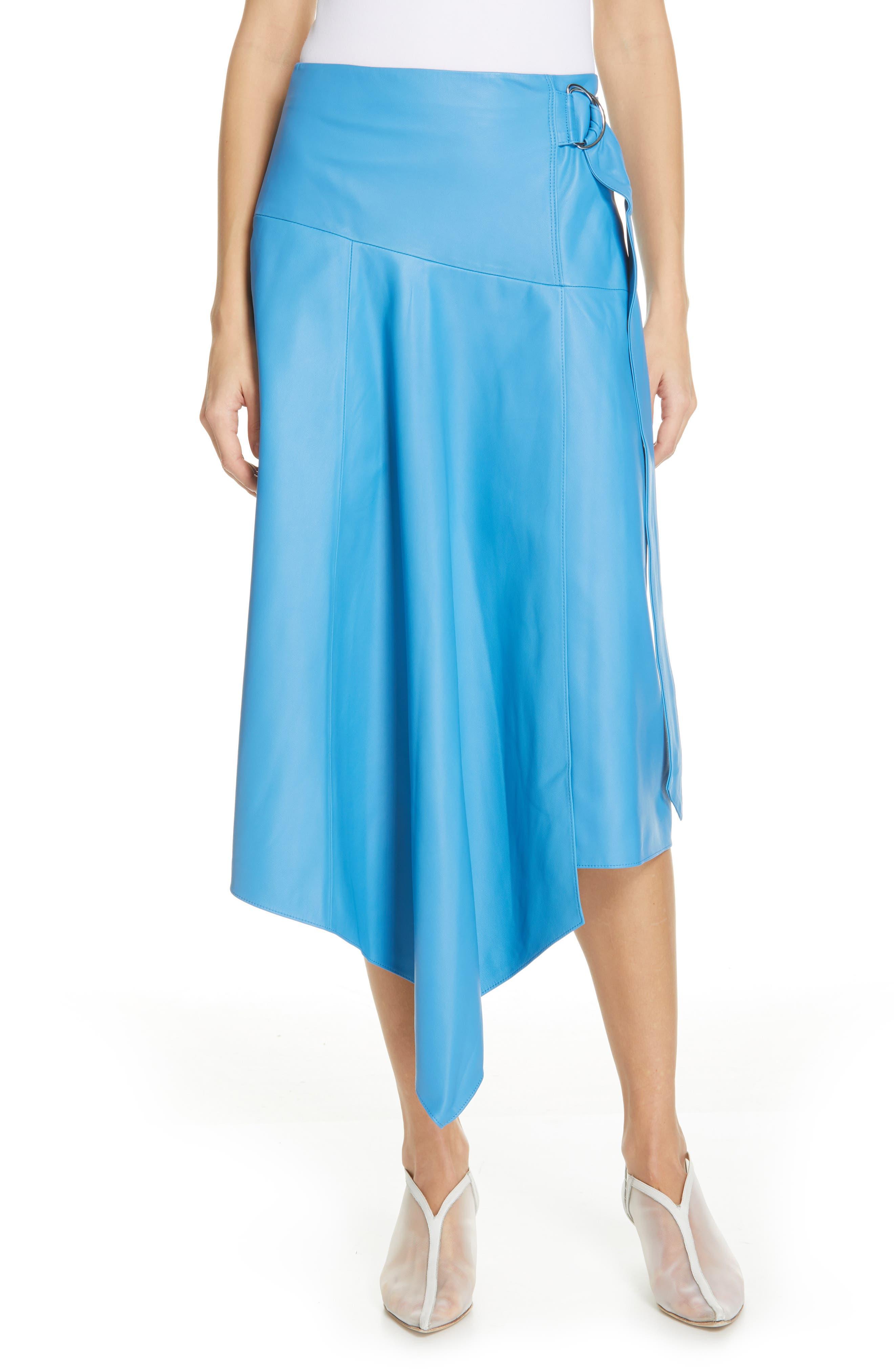 TIBI,                             Asymmetrical Drape Tissue Leather Skirt,                             Main thumbnail 1, color,                             OCEAN BLUE