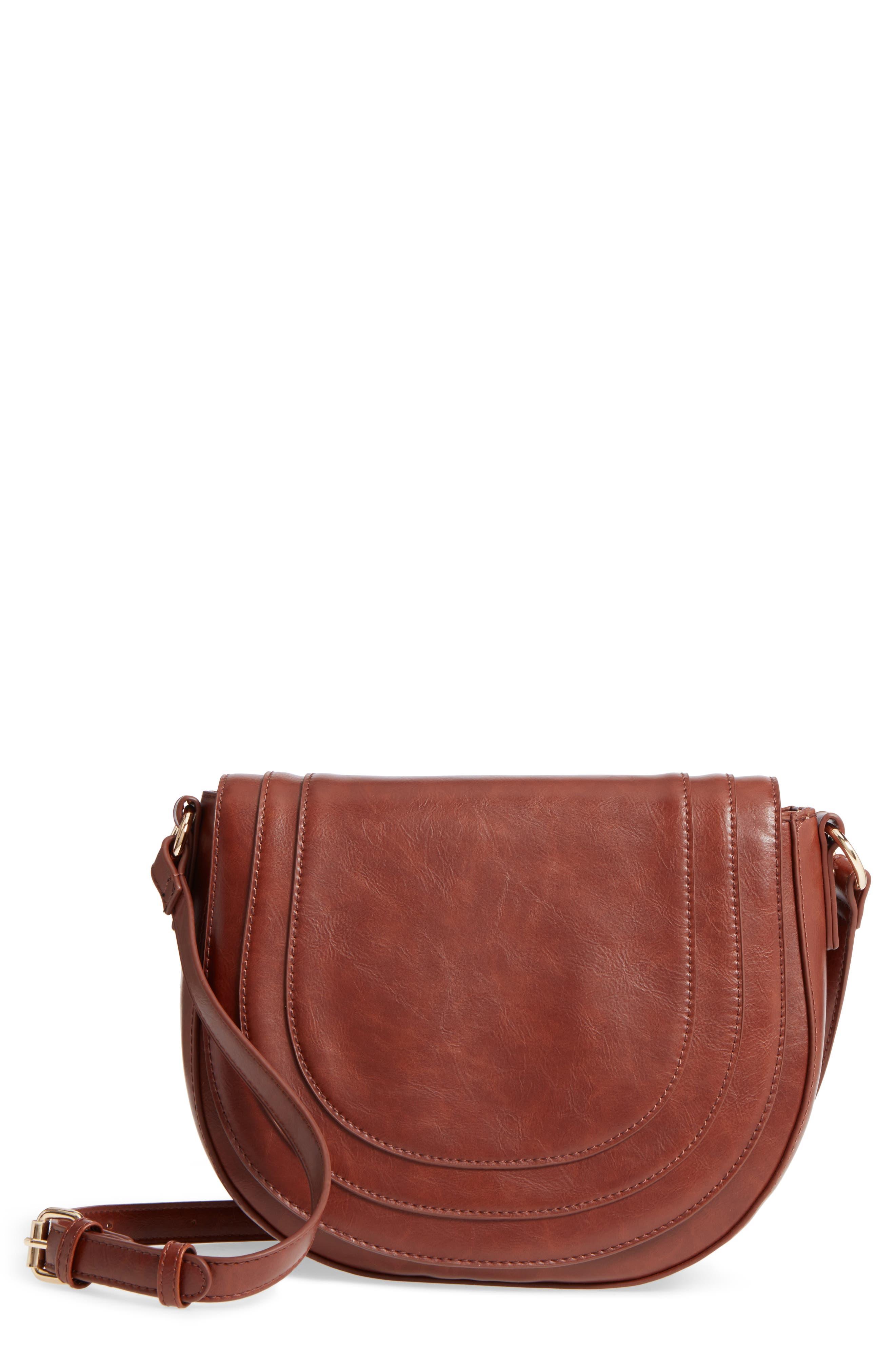 Piri Faux Leather Saddle Bag,                             Main thumbnail 3, color,
