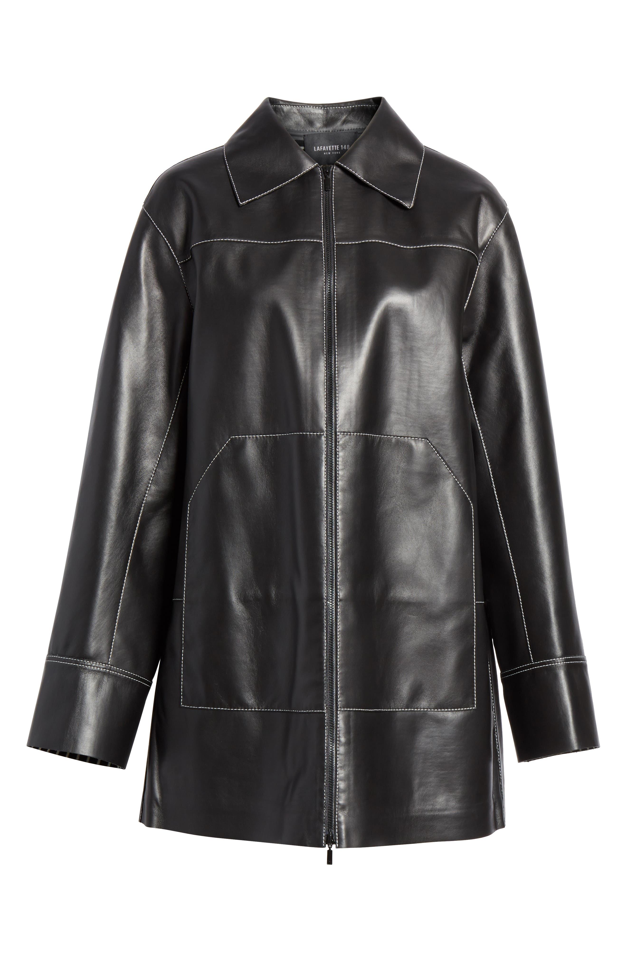 Christopher Leather Jacket,                             Alternate thumbnail 6, color,                             BLACK