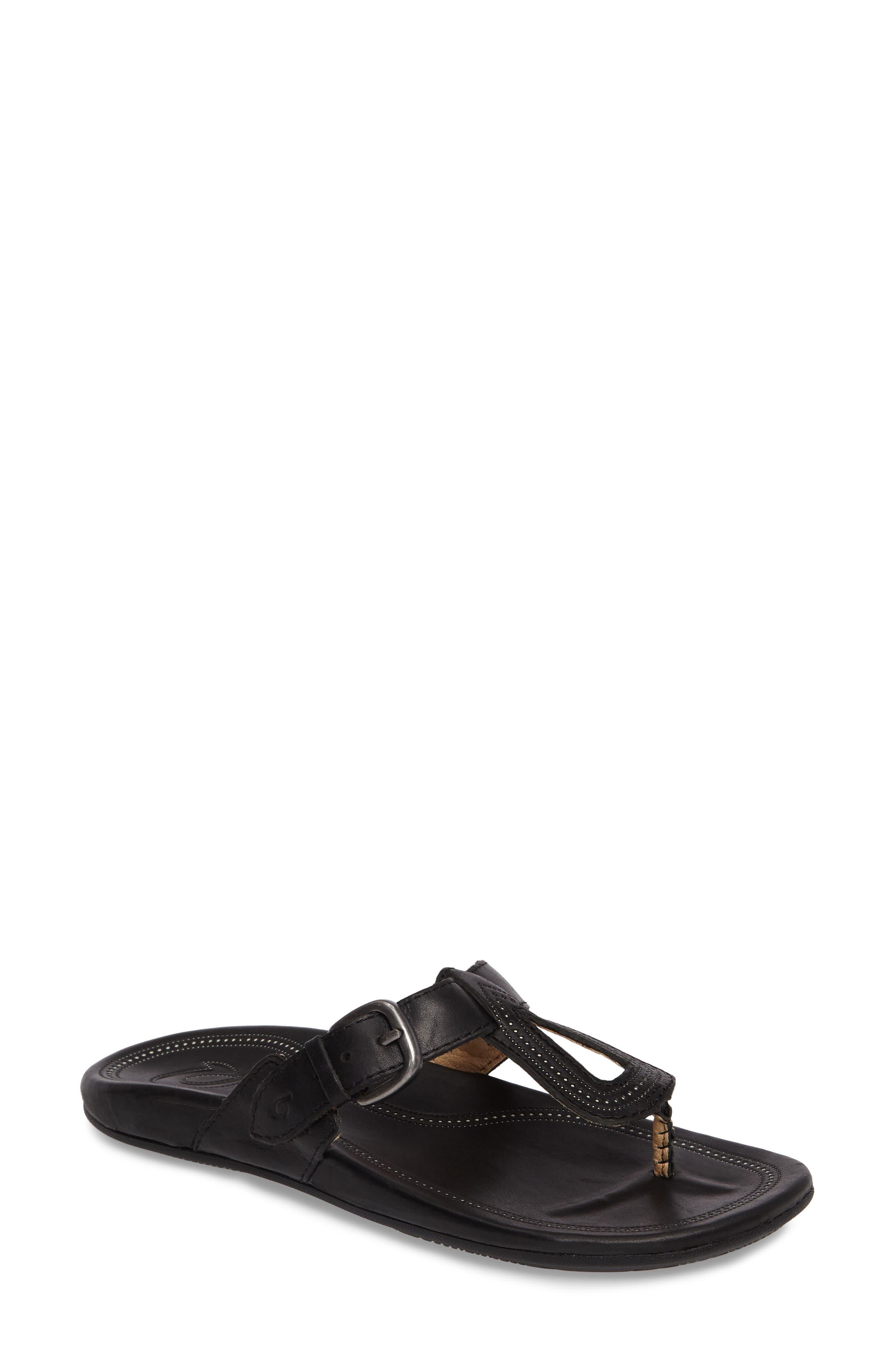 Lanakila Buckle Flip Flop Women),                         Main,                         color, BLACK/ BLACK LEATHER