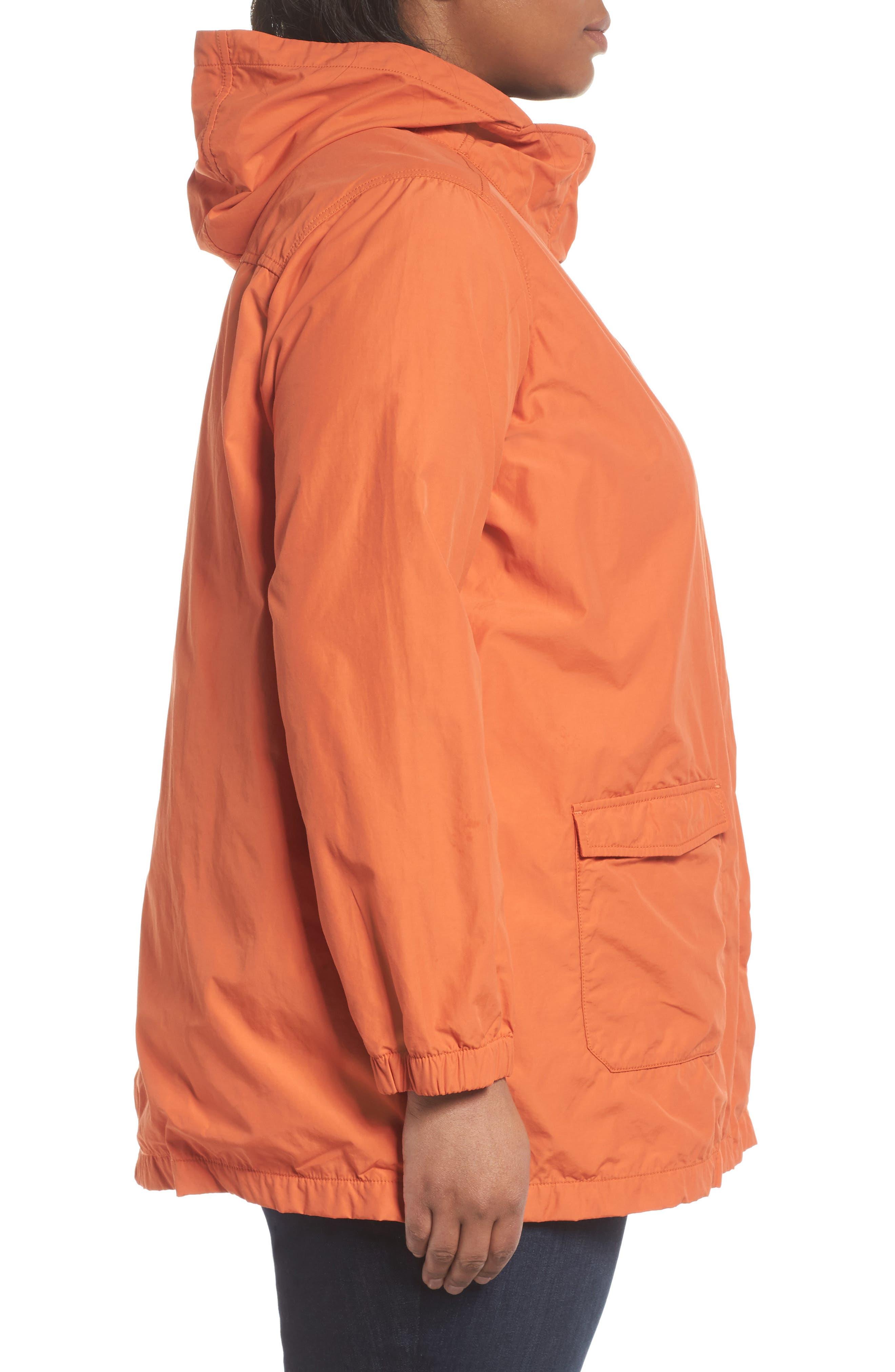 Hooded Organic Cotton Blend Jacket,                             Alternate thumbnail 3, color,                             001