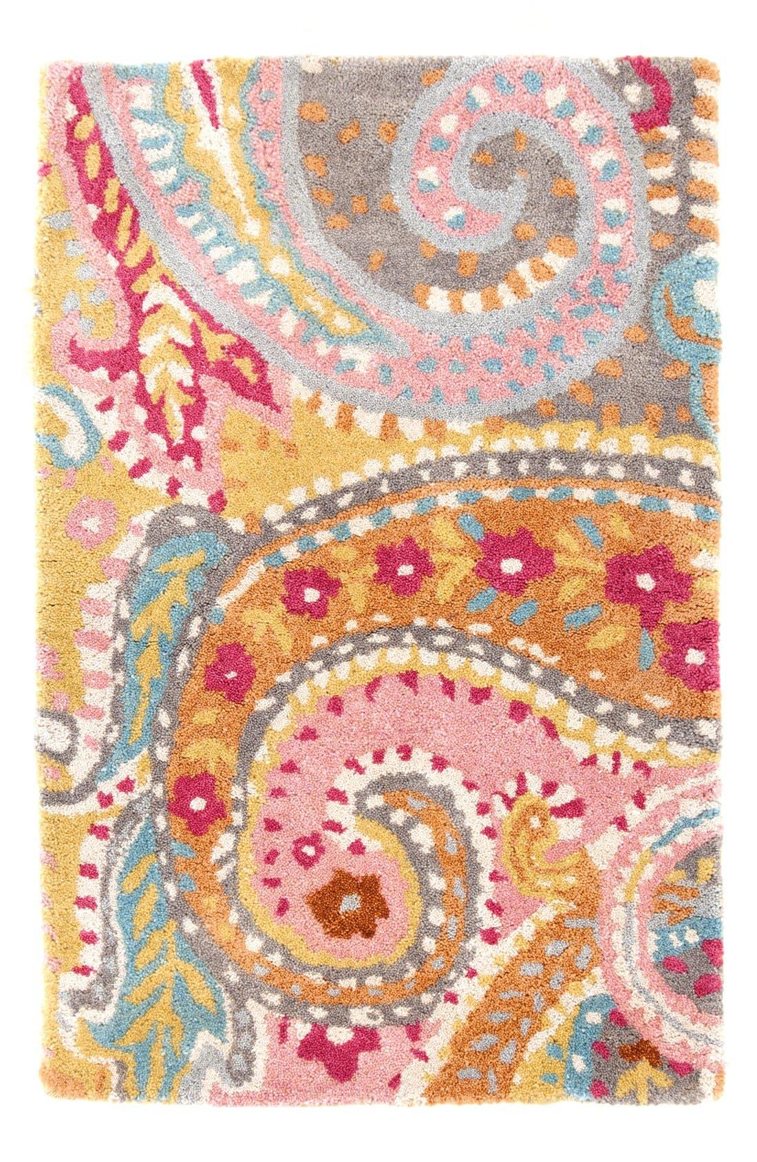 'Lyric - Paisley' Wool Rug,                             Main thumbnail 1, color,                             PINK/ MULTI