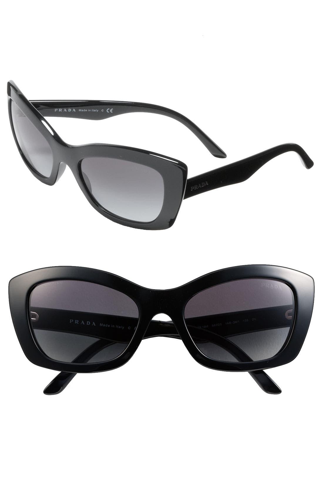 PRADA Rectangular Cat's Eye Sunglasses, Main, color, 001