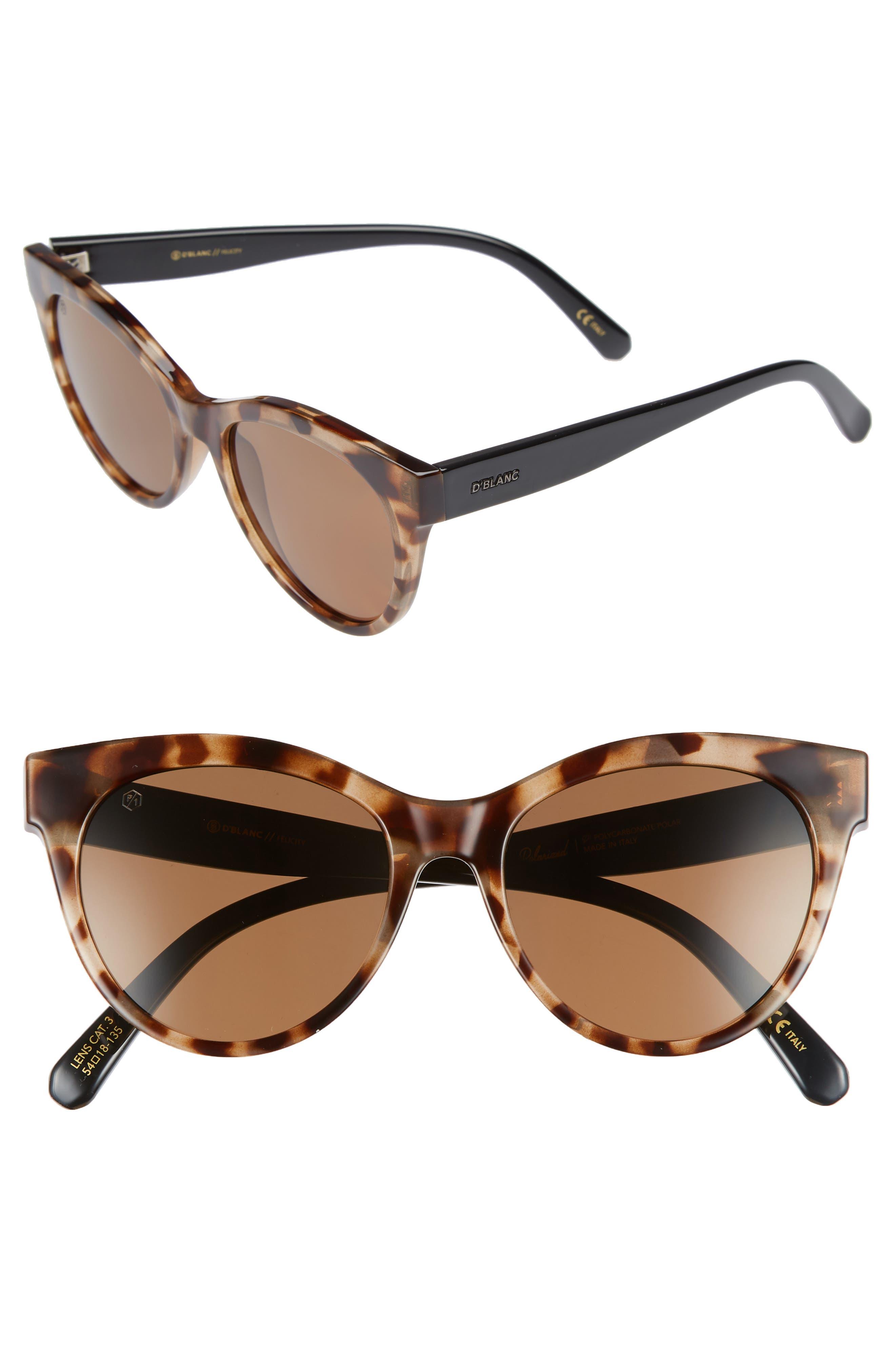 D'BLANC Felicity 54mm Polarized Sunglasses,                             Main thumbnail 1, color,                             200