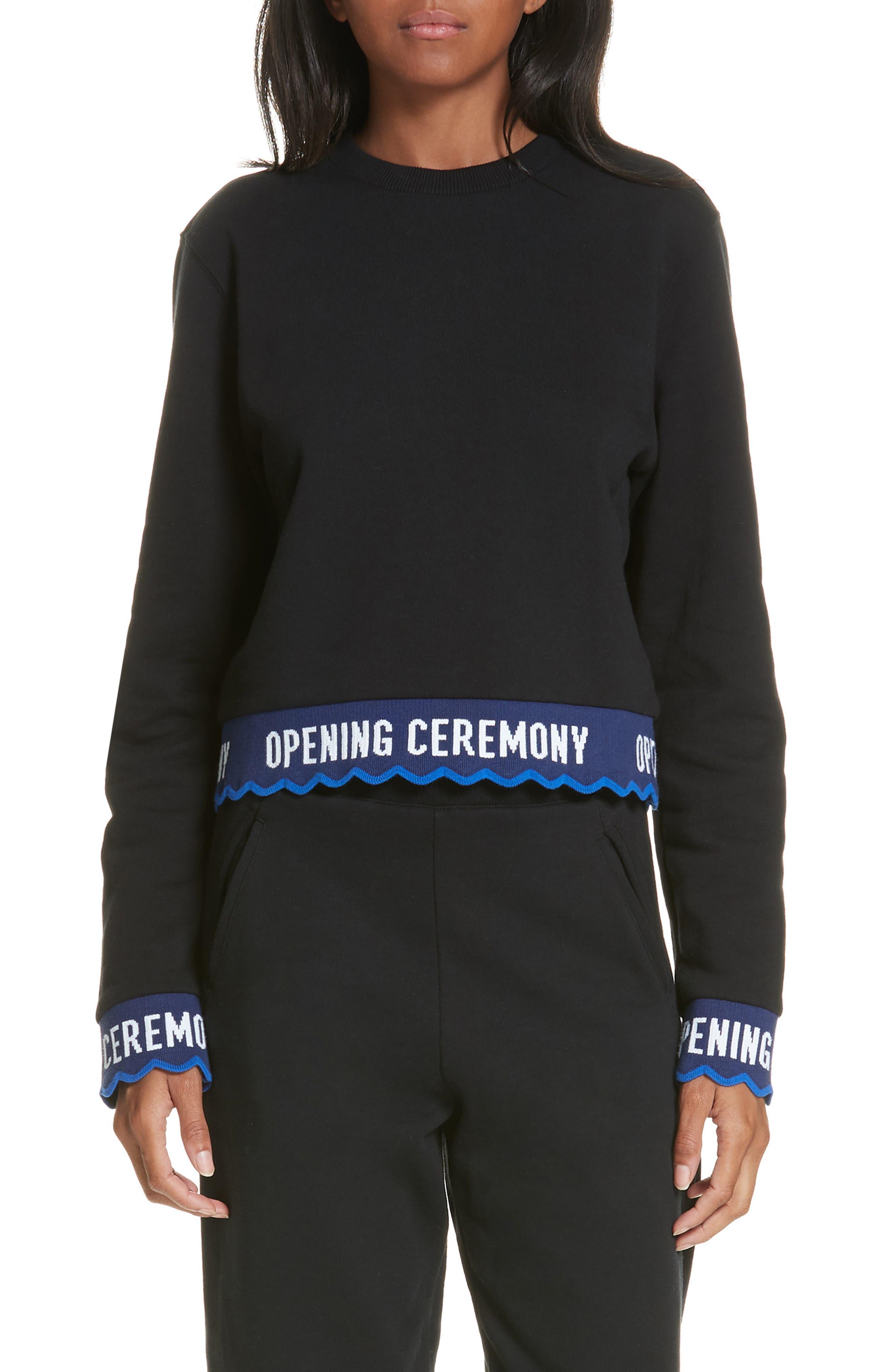 Scallop Logo Trim Crop Sweatshirt, Main, color, BLACK