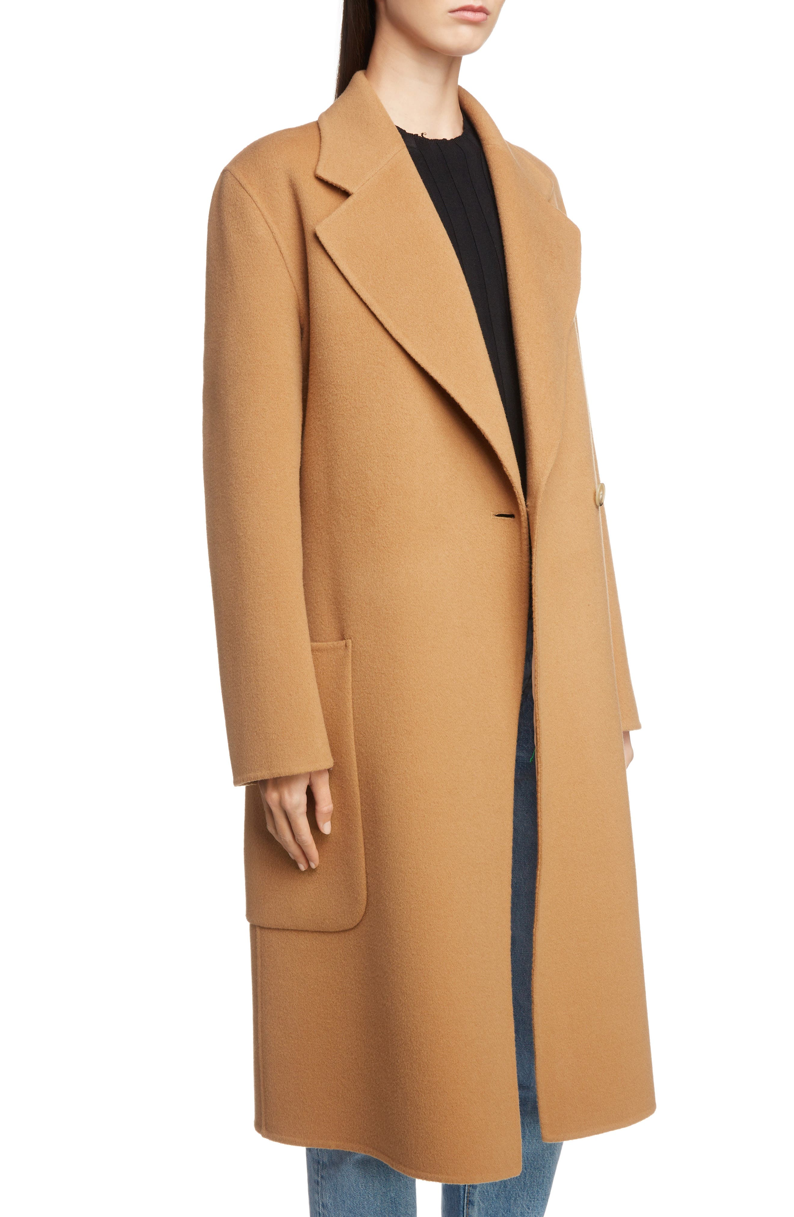 Belted Double Wool & Cashmere Coat,                             Alternate thumbnail 4, color,                             CAMEL BROWN