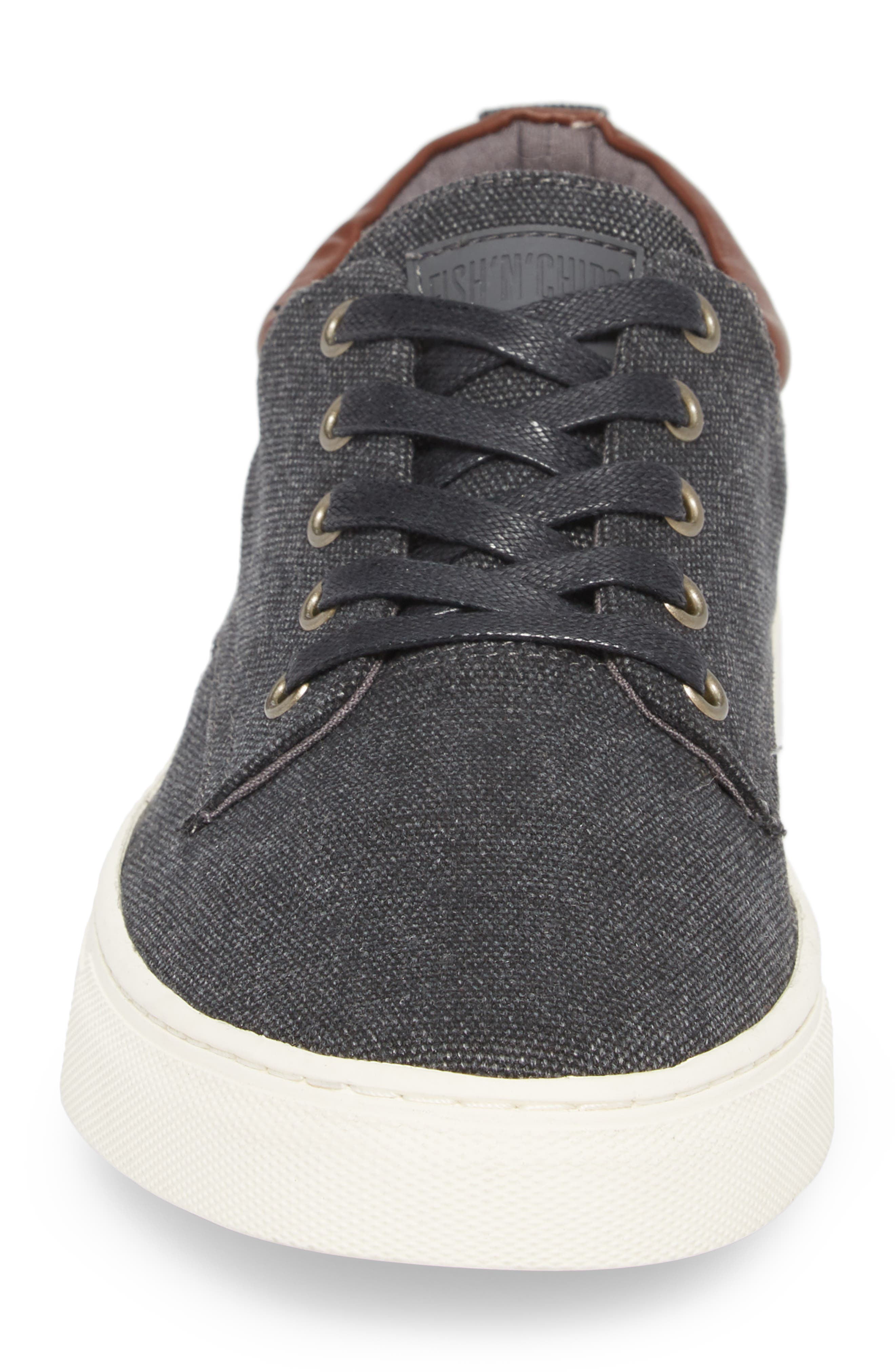 Fish 'N' Chips Hampton Low Top Sneaker,                             Alternate thumbnail 4, color,                             CHARCOAL FABRIC
