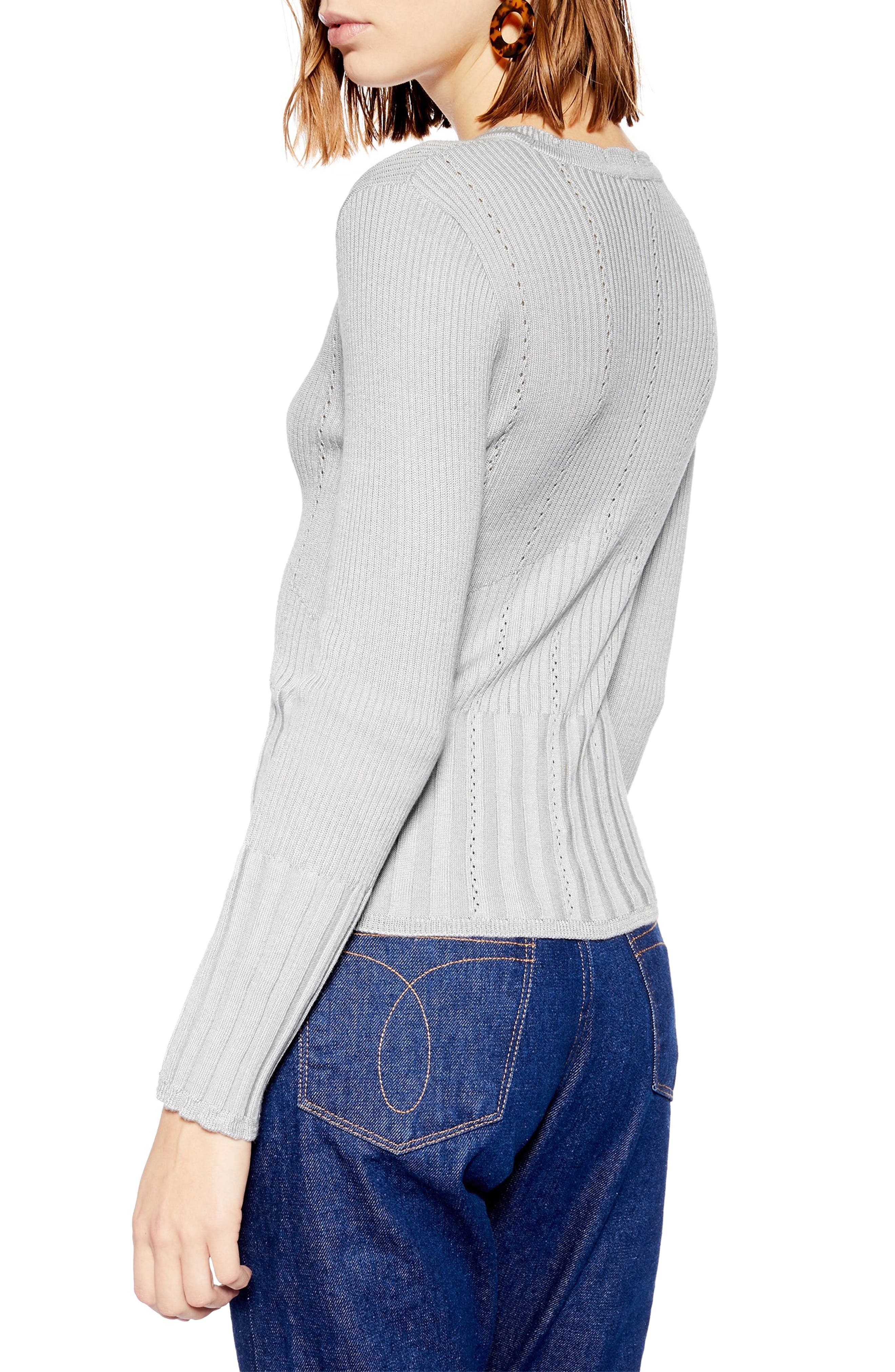 Pointelle Ribbed Top,                             Alternate thumbnail 2, color,                             GREY
