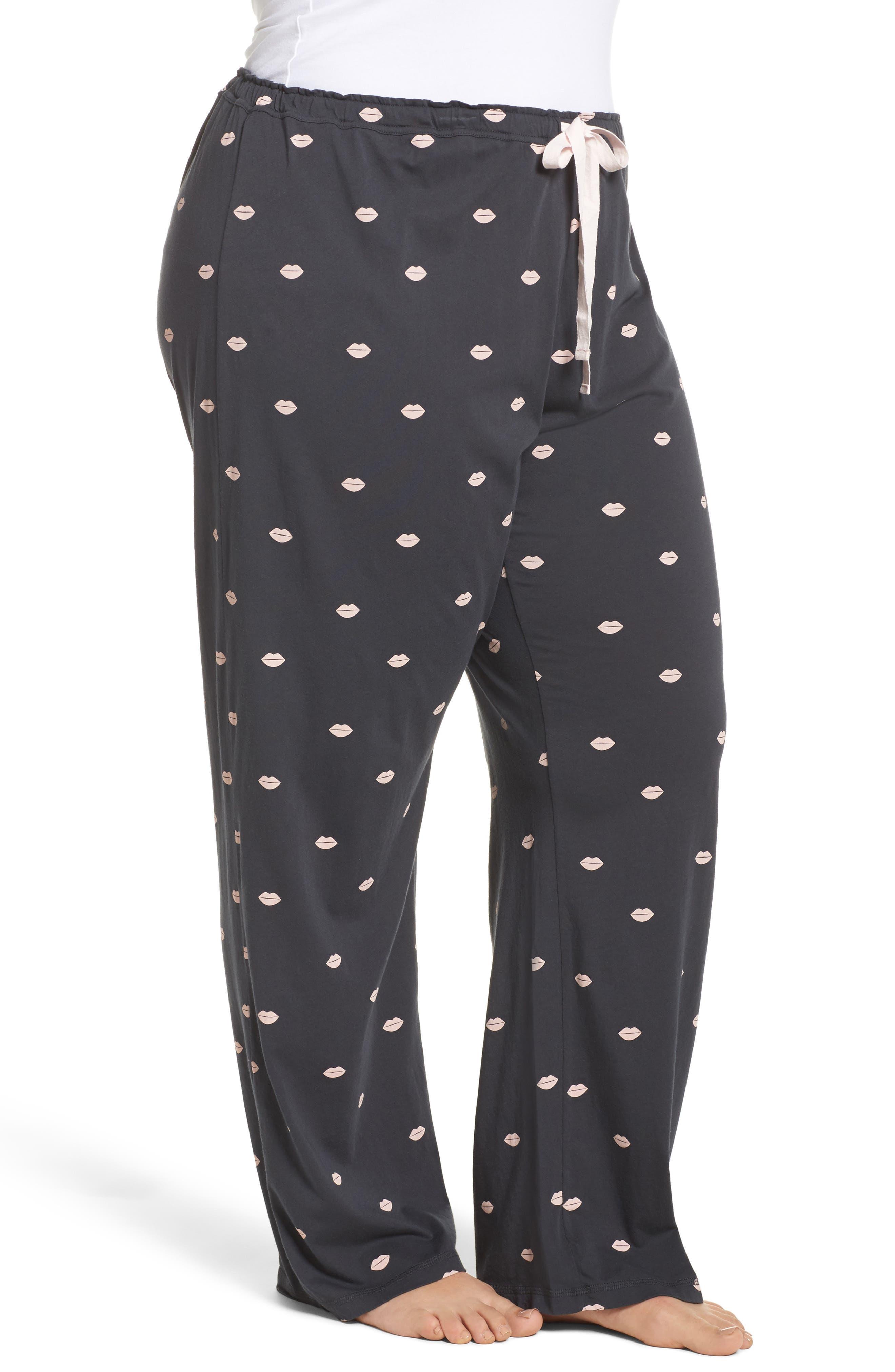 Lip Print Pajama Pants,                             Alternate thumbnail 3, color,