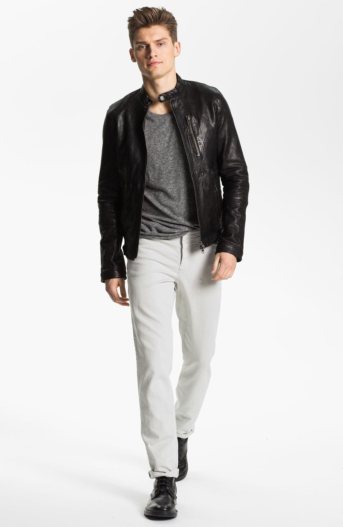 Leather Jacket,                             Alternate thumbnail 4, color,                             001