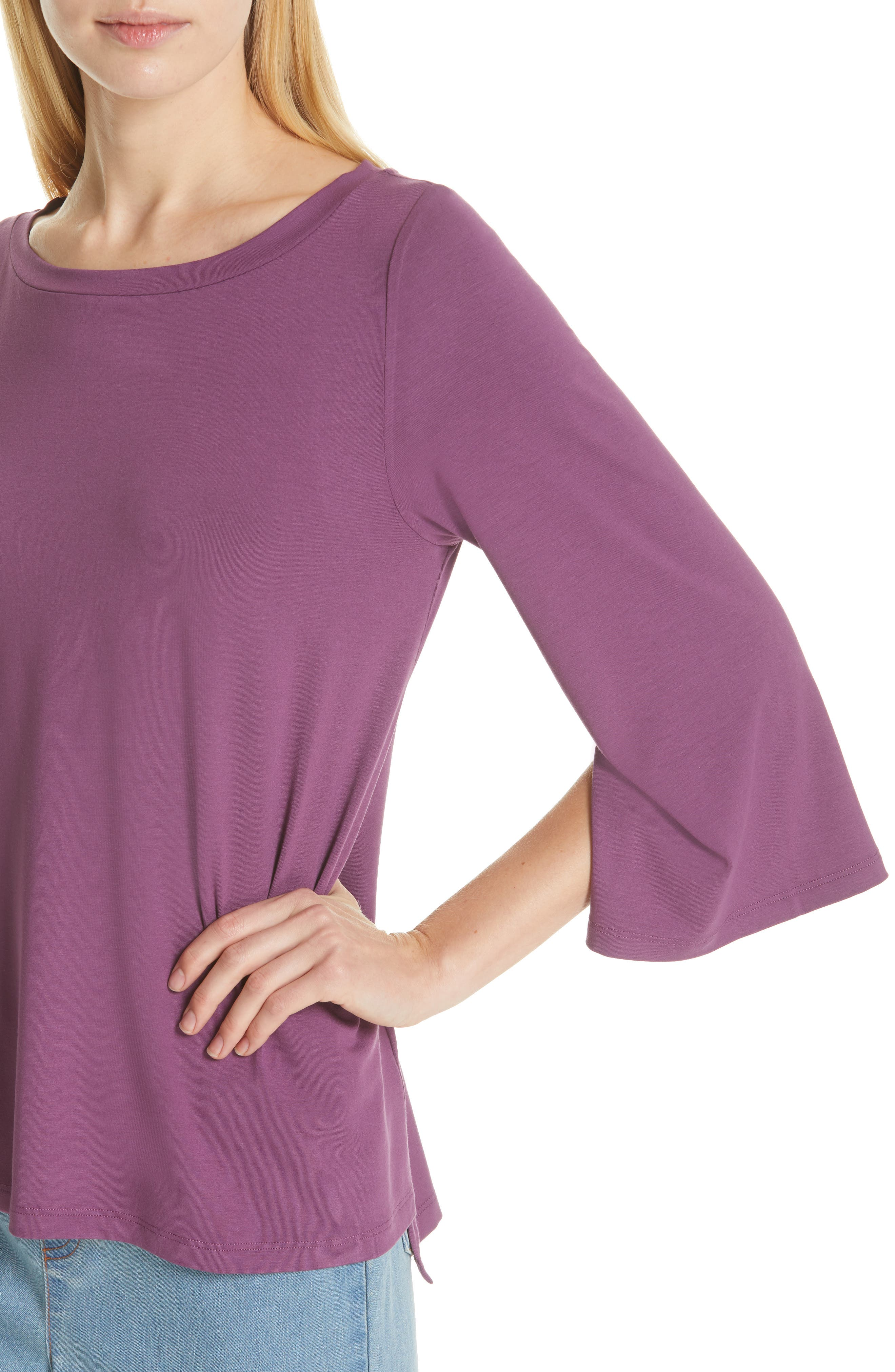Flare Sleeve Top,                             Alternate thumbnail 4, color,                             CURRANT