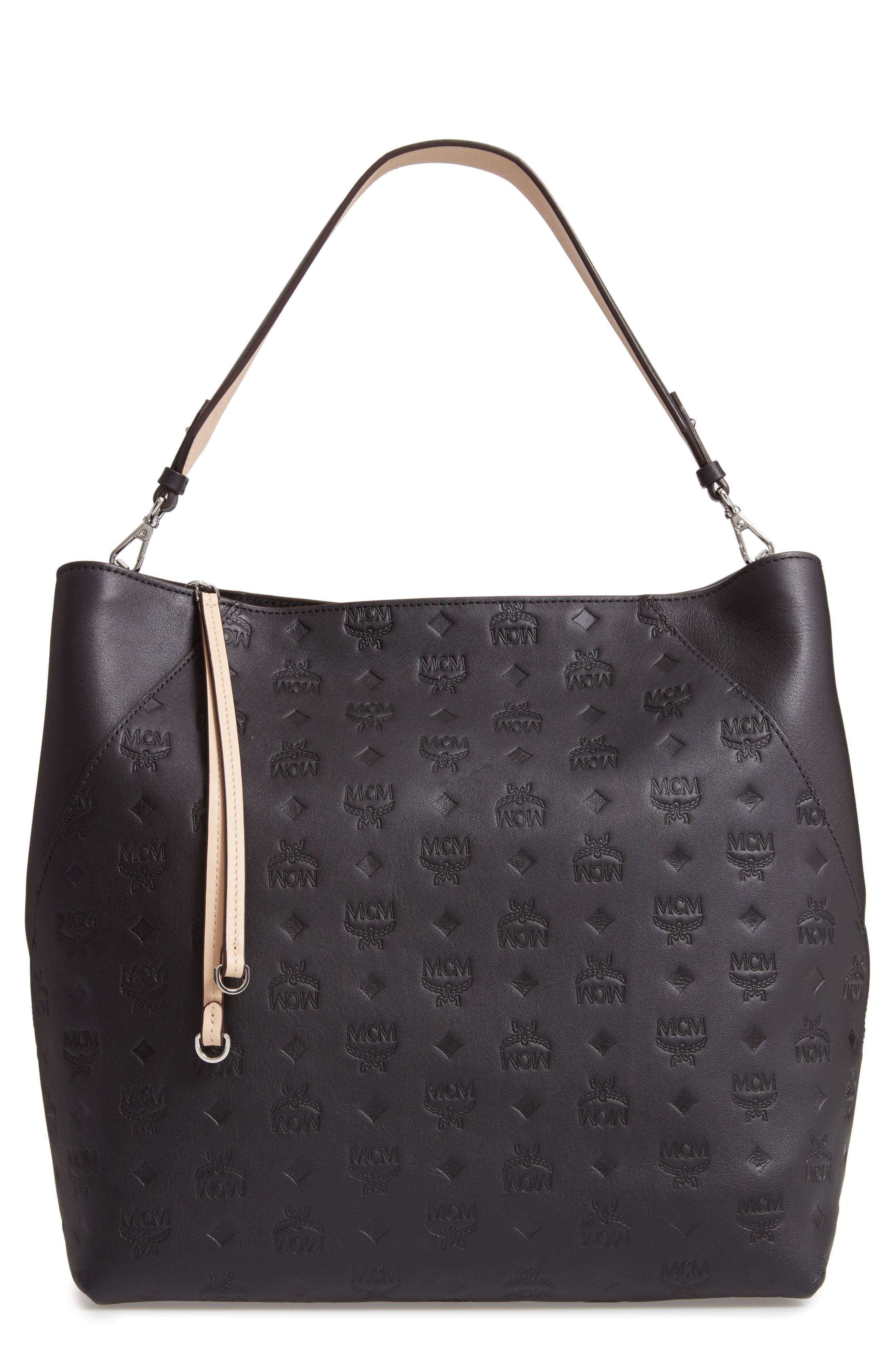 Large Klara Monogram Leather Hobo,                             Main thumbnail 1, color,                             BLACK