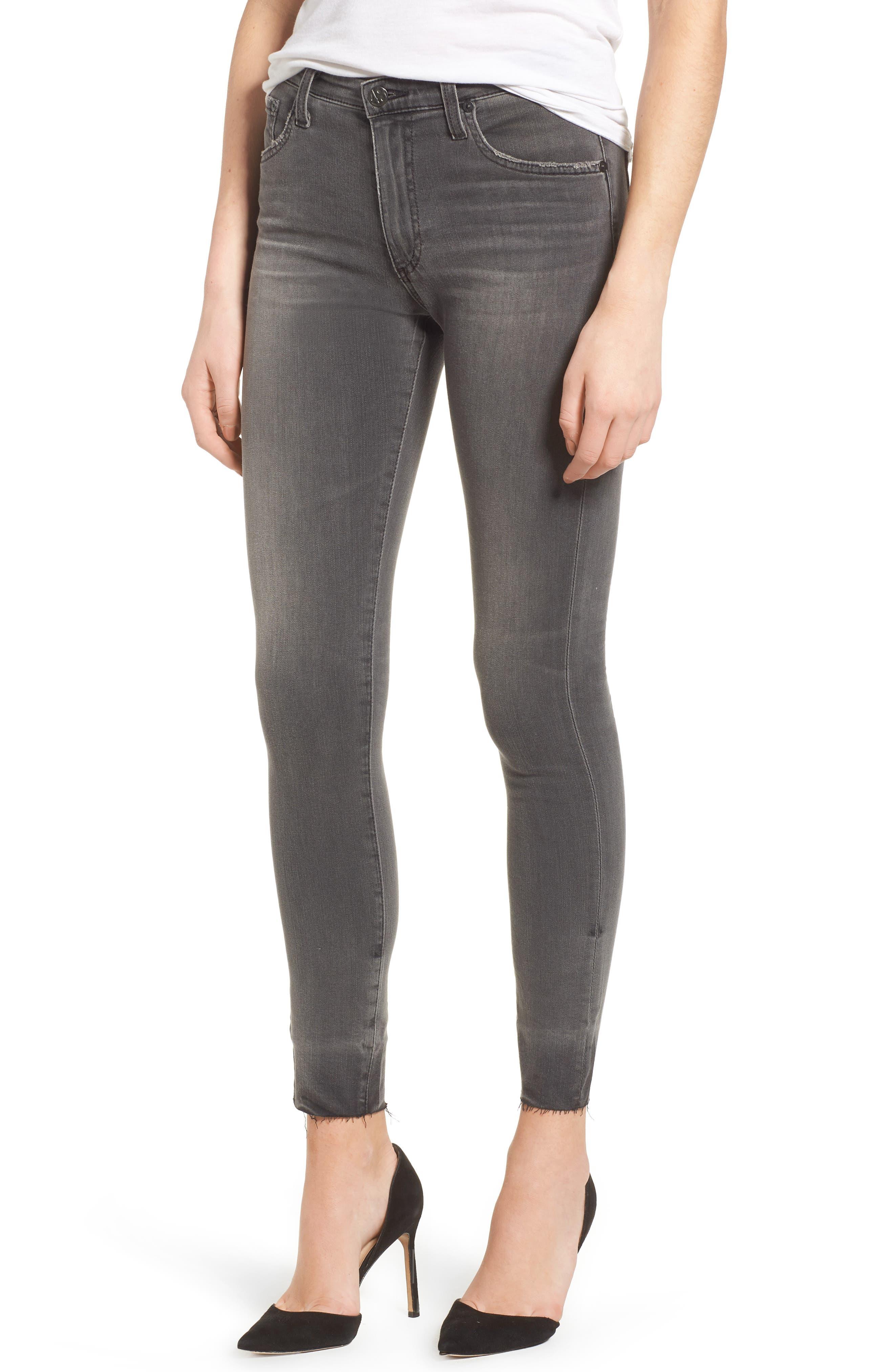 The Farrah High Waist Raw Hem Skinny Jeans,                         Main,                         color, 001