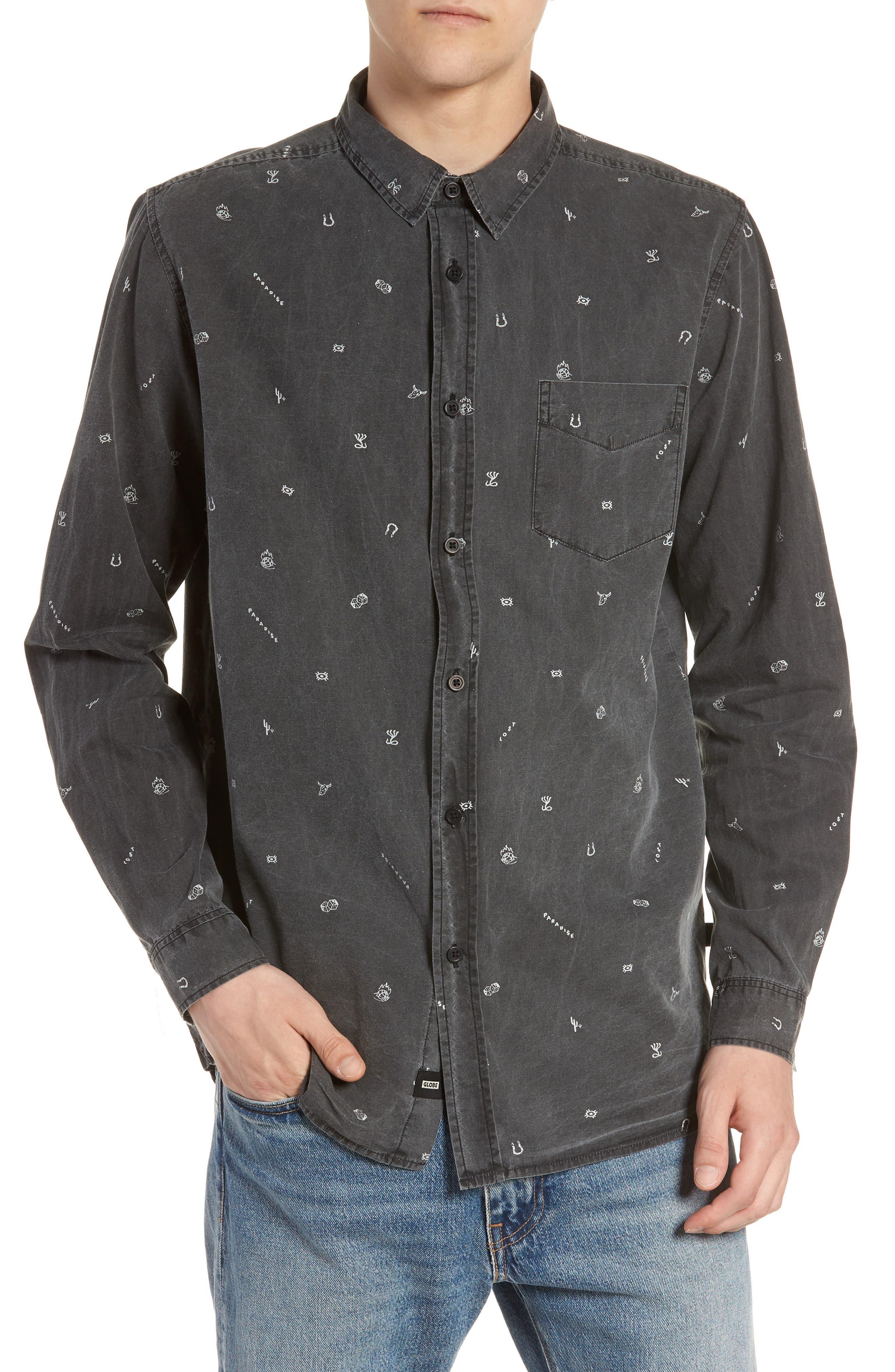 Vegas Woven Shirt,                         Main,                         color, VINTAGE BLACK