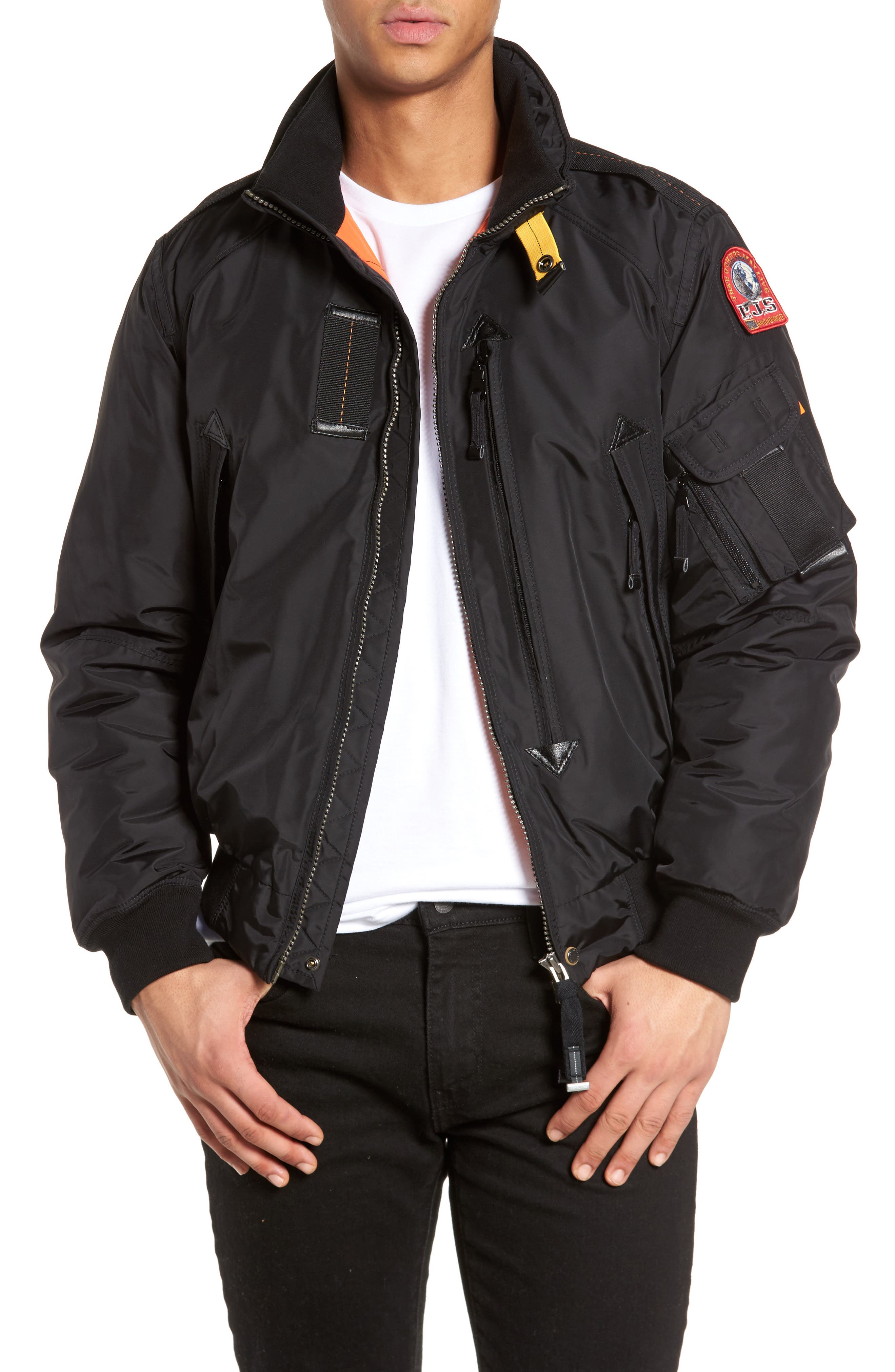 Masterpiece Slim Fit Midweight Down Bomber Jacket, Main, color, 001