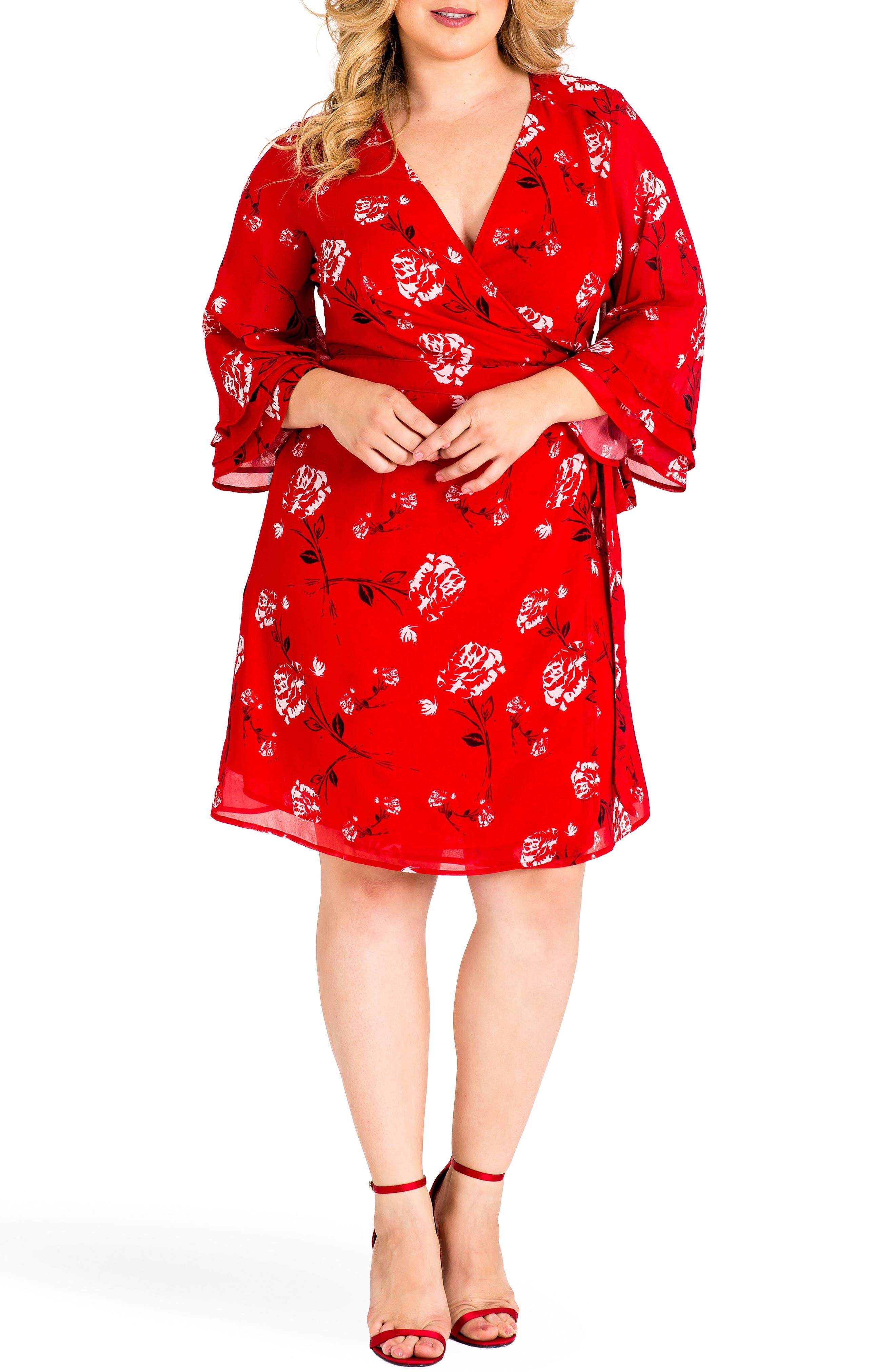 Lulu Wrap Dress,                         Main,                         color, RED TULIP PRINT