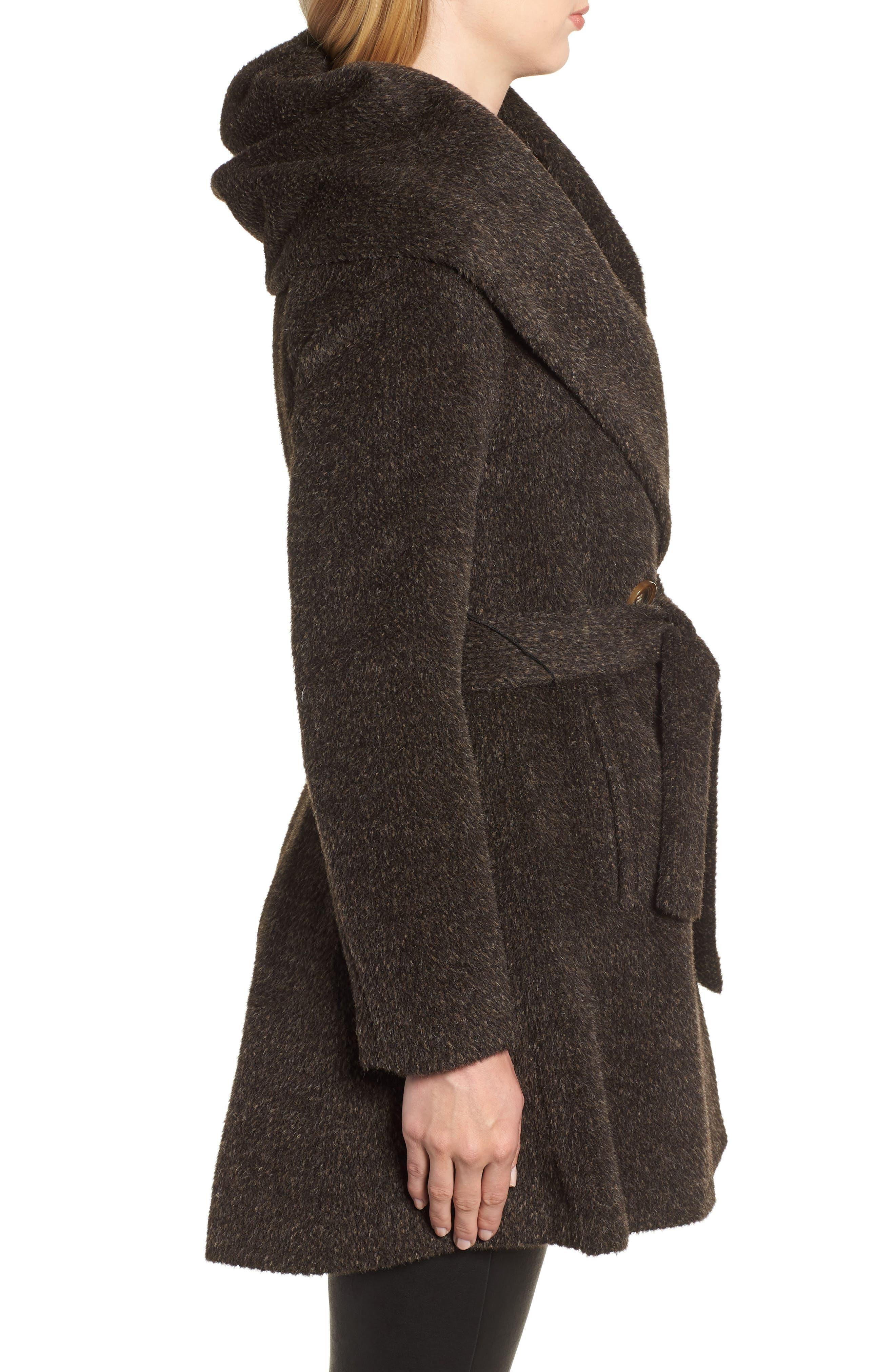 Grace Hooded Wrap Walker Coat,                             Alternate thumbnail 3, color,                             BROWN/ BLACK