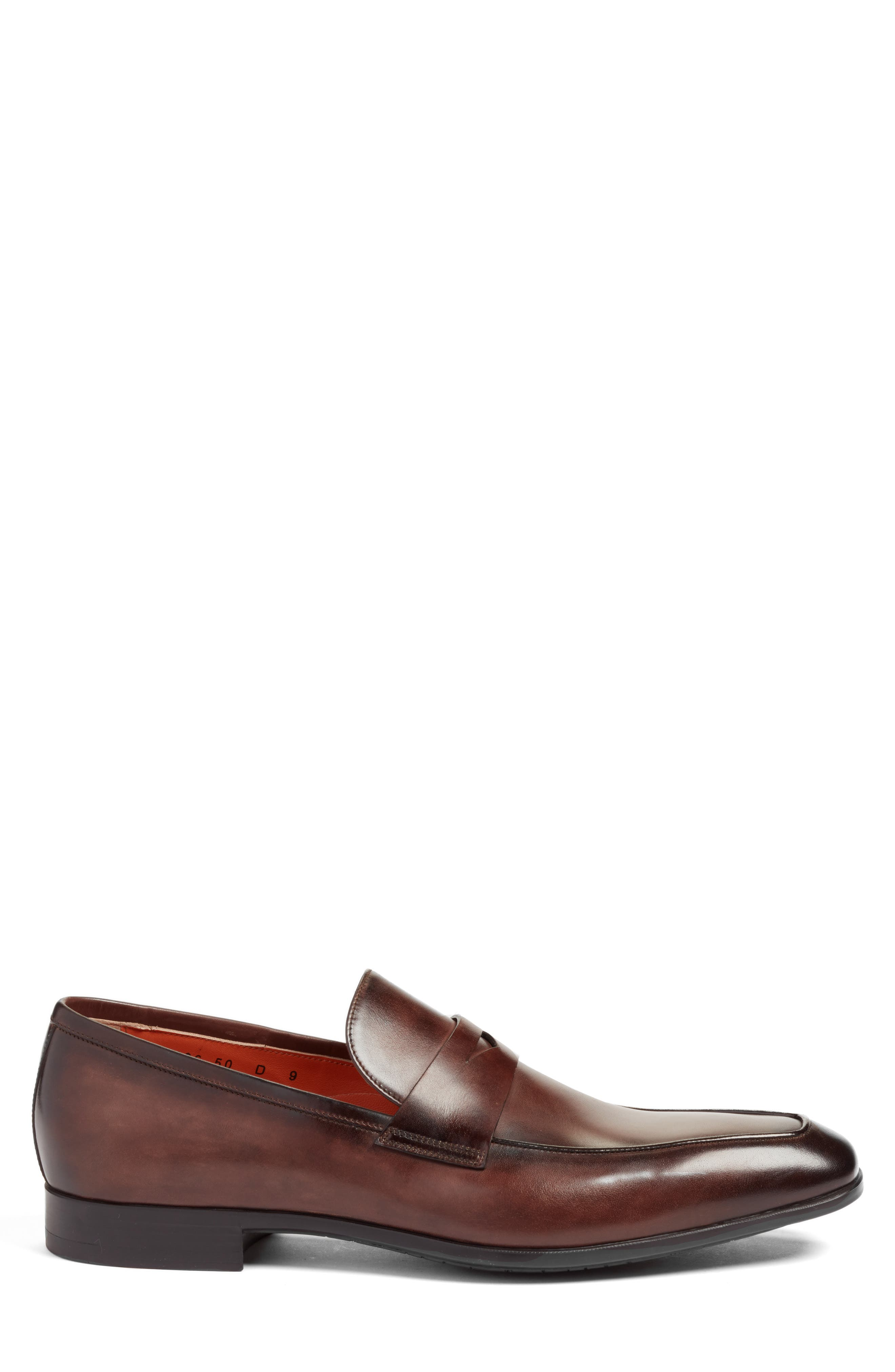 Fisk Square Toe Penny Loafer,                             Alternate thumbnail 3, color,                             BROWN LEATHER