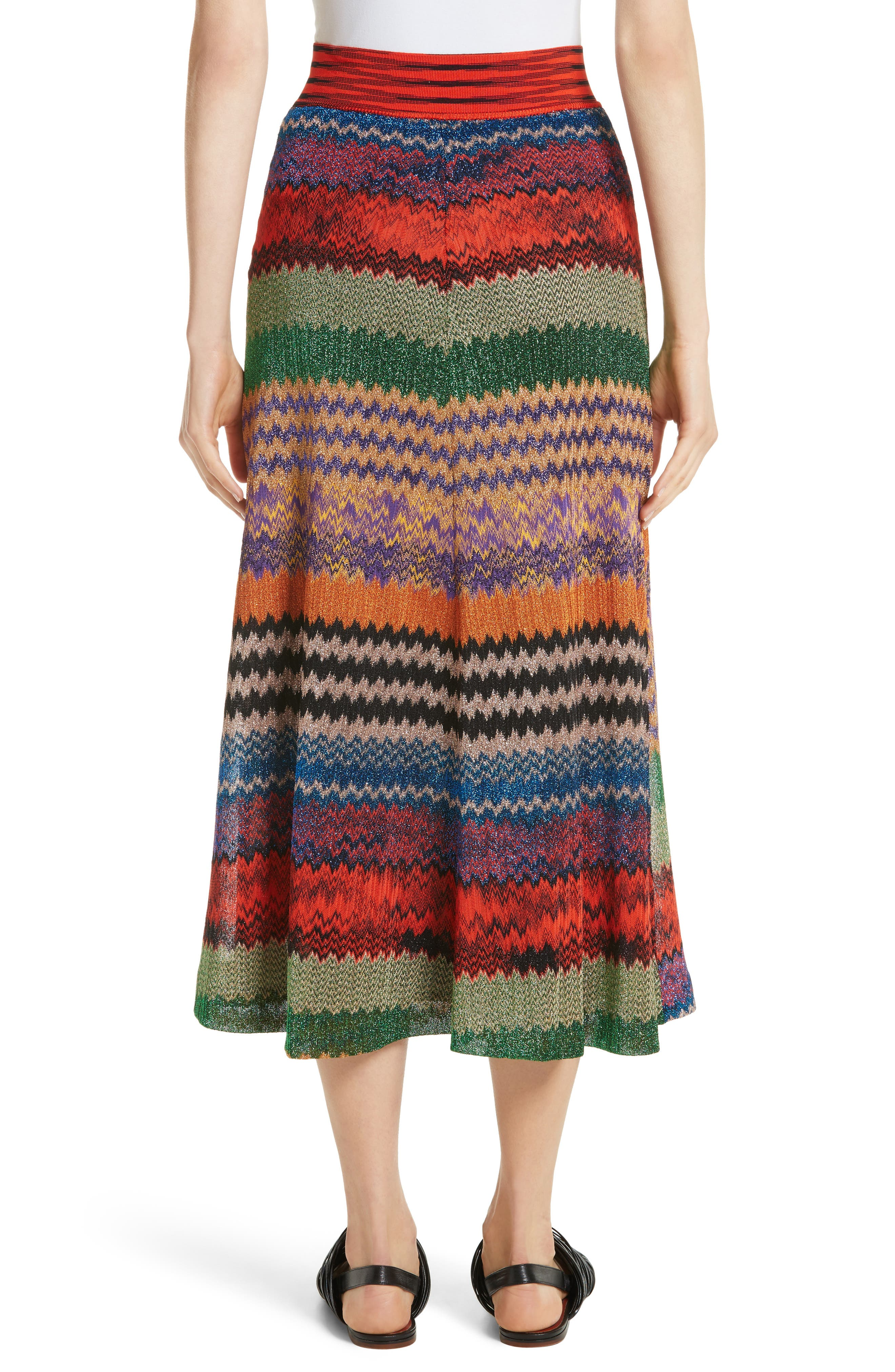 Metallic Stripe Knit Midi Skirt,                             Alternate thumbnail 2, color,