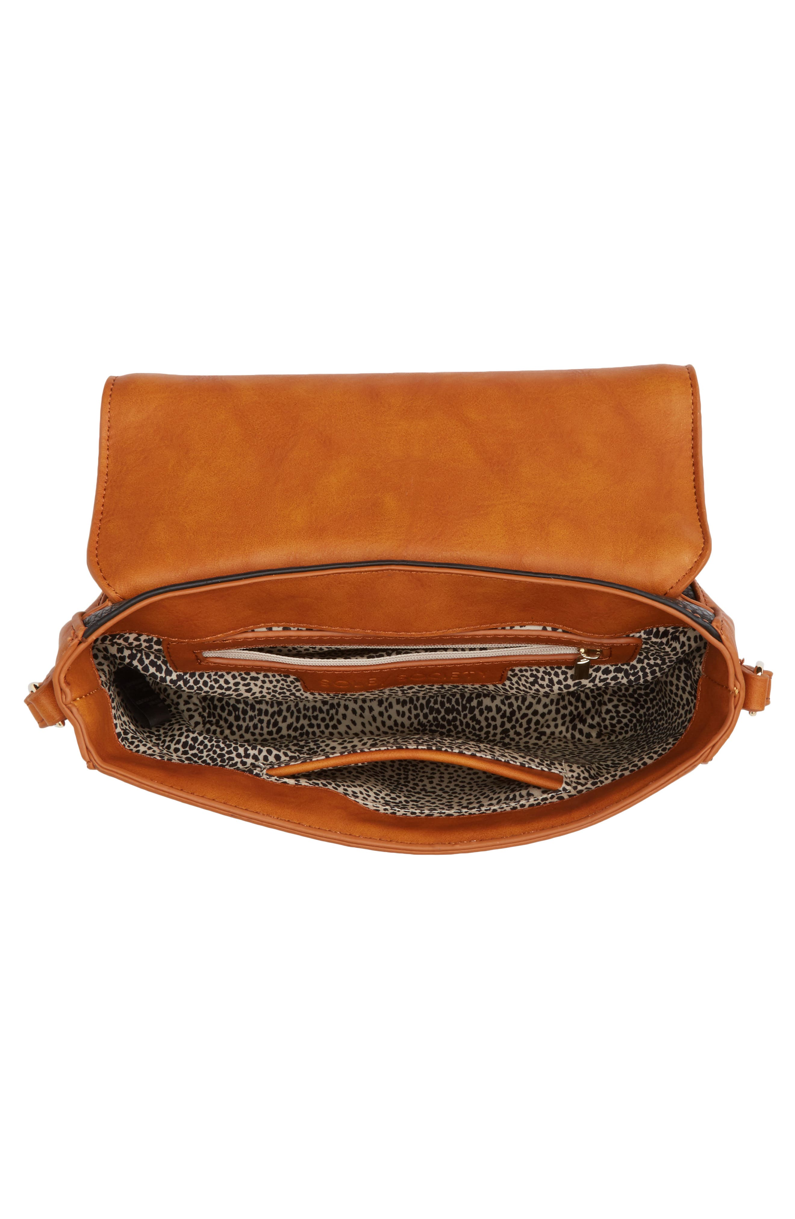 Finnigan Faux Leather Crossbody Bag,                             Alternate thumbnail 4, color,                             001