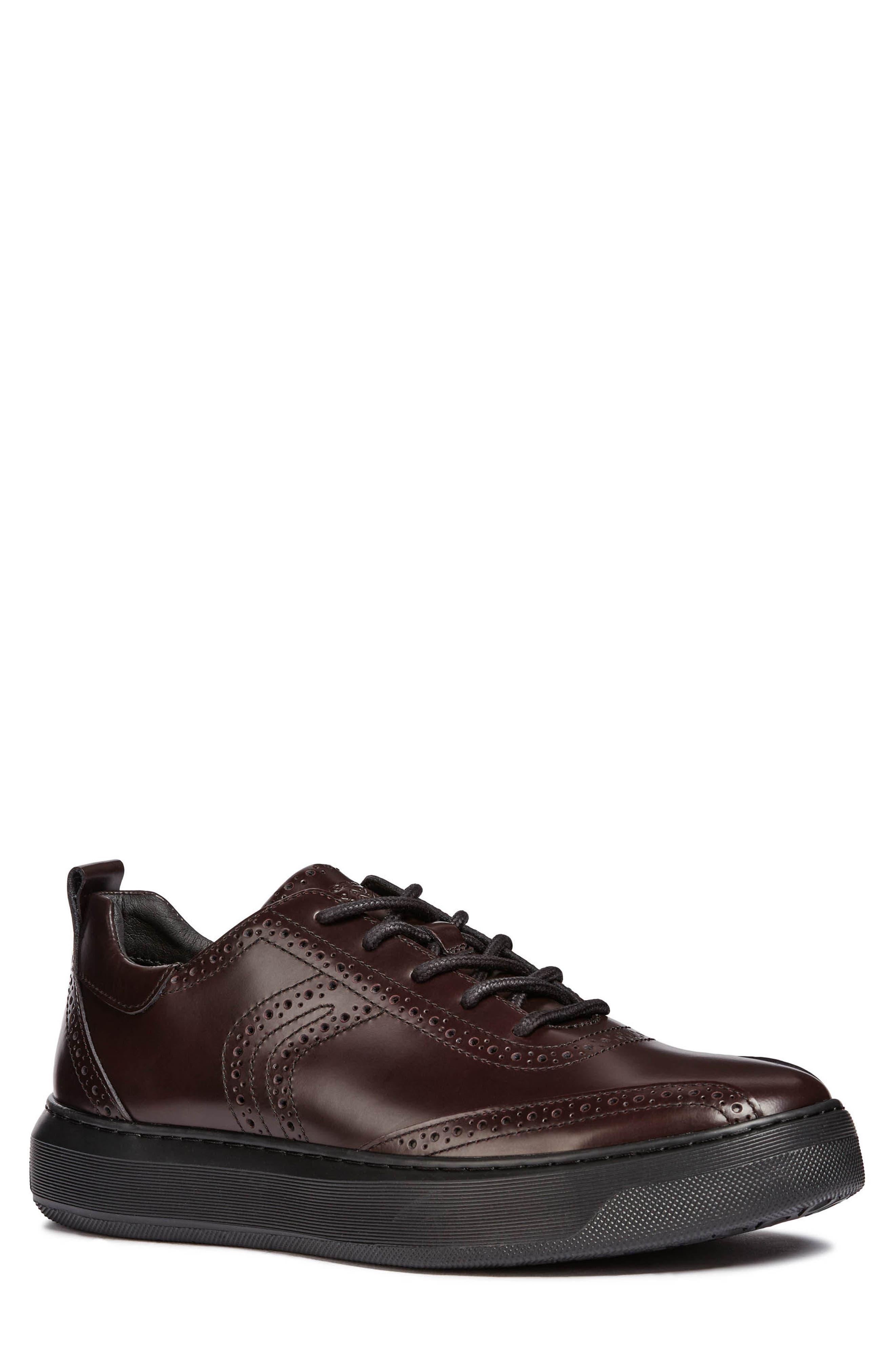 Deiven 10 Brogued Low Top Sneaker,                             Main thumbnail 1, color,                             DARK BURGUNDY LEATHER
