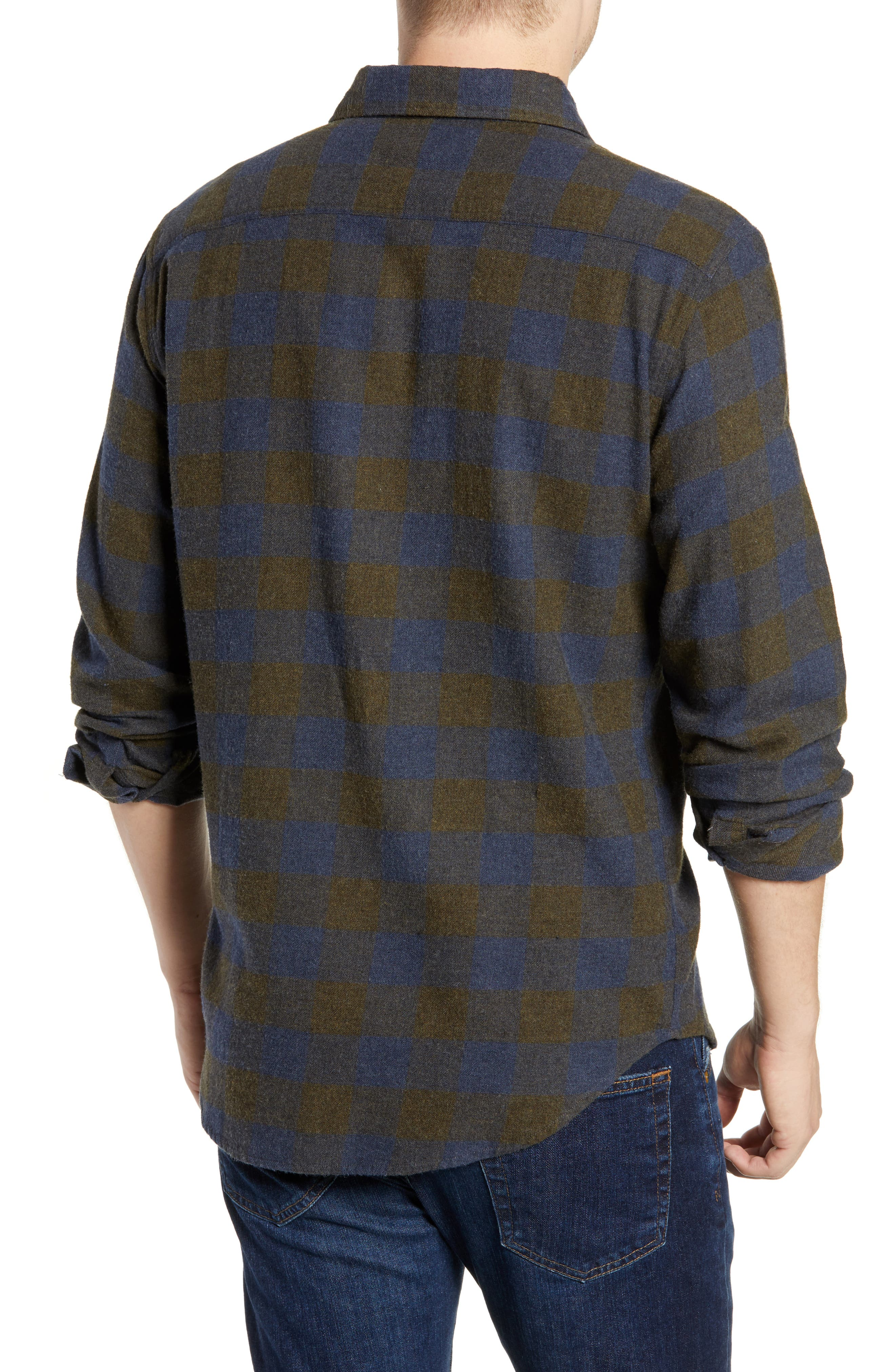 Seasons Check Flannel Shirt,                             Alternate thumbnail 3, color,                             NAVY OLIVE BUFFALO