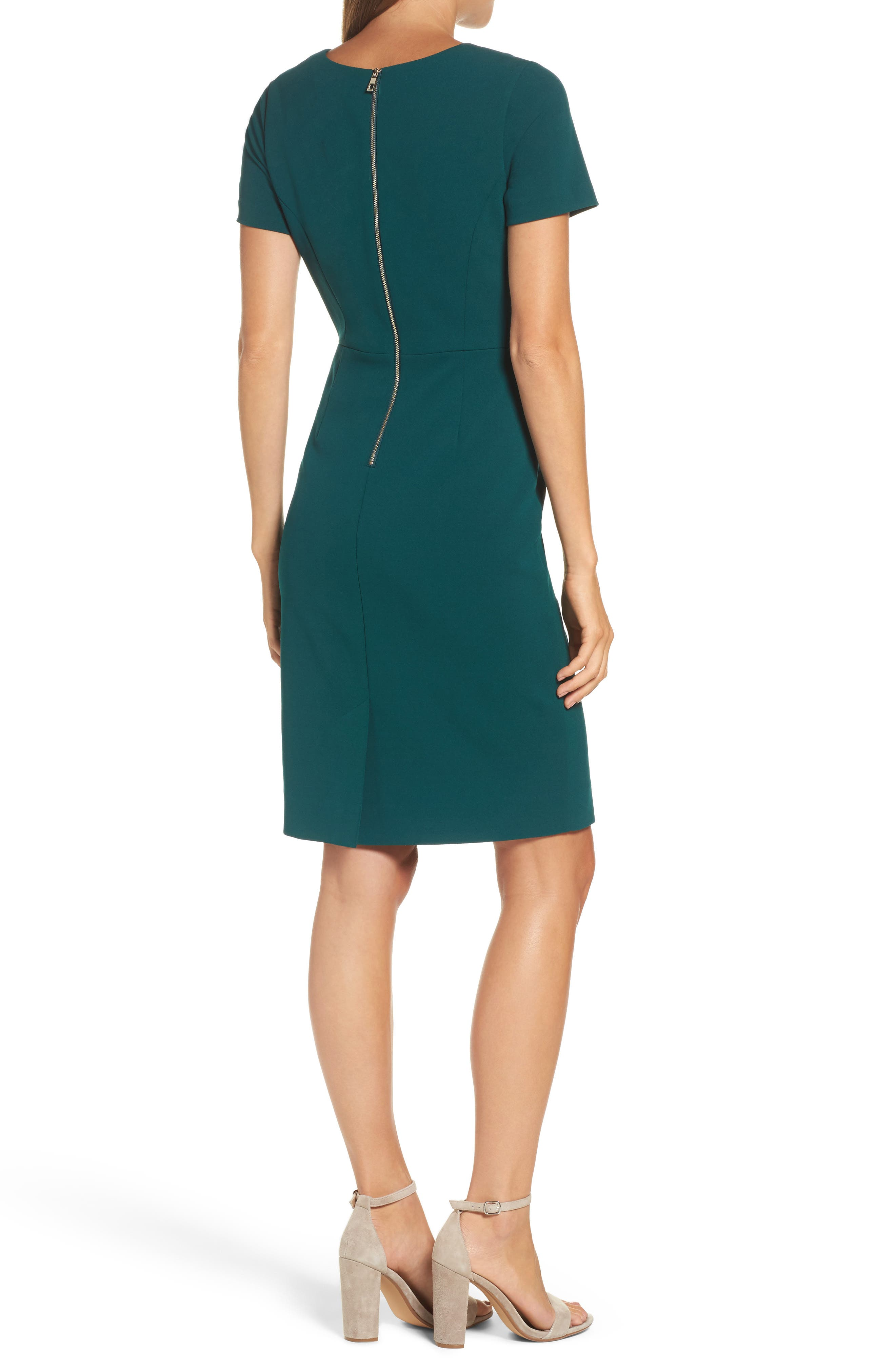Scuba Crepe Sheath Dress,                             Alternate thumbnail 2, color,