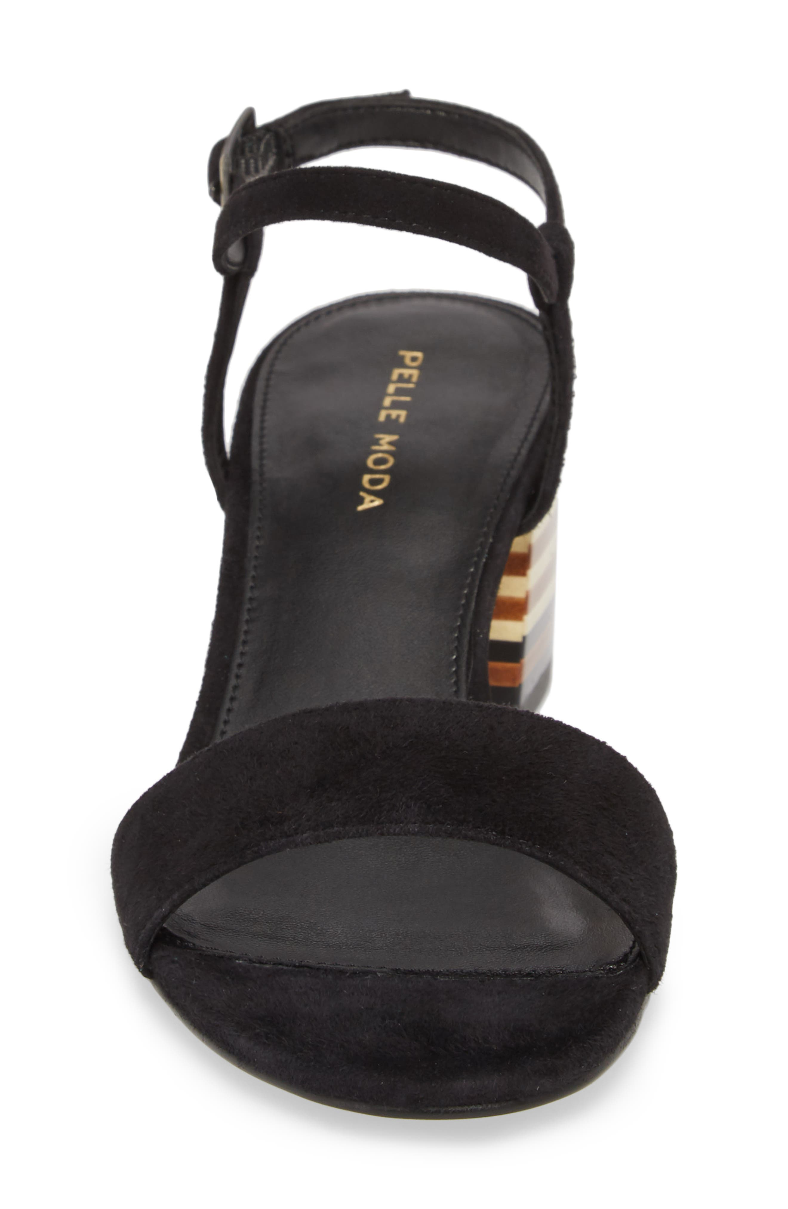 Alicia Block Heel Sandal,                             Alternate thumbnail 4, color,                             BLACK SUEDE