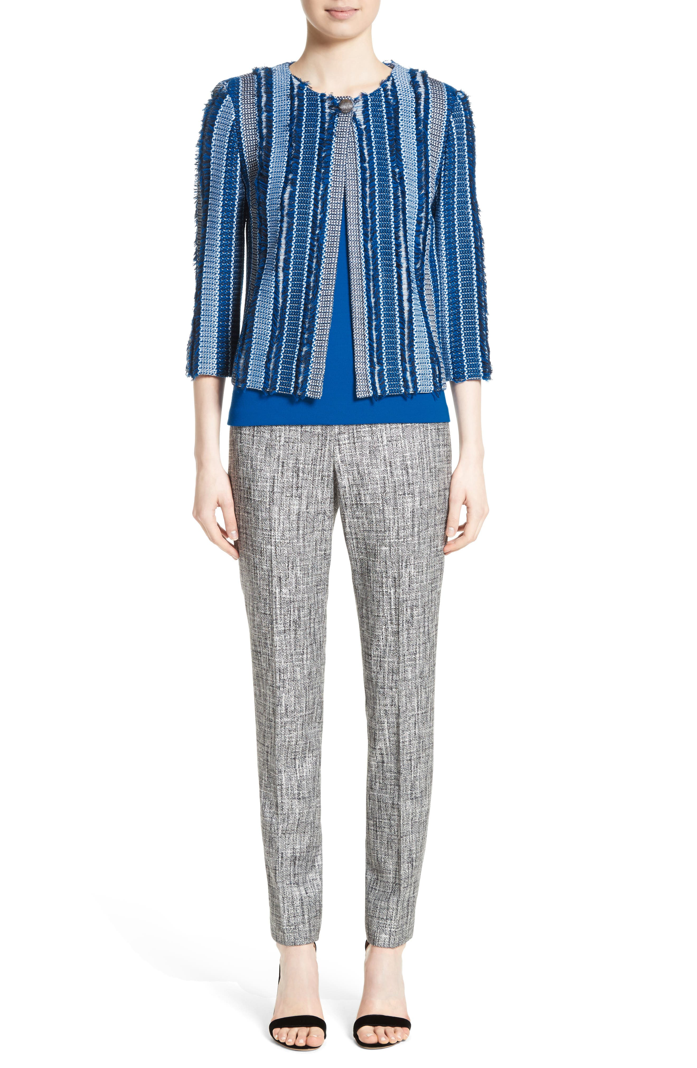 Emma Abstract Stretch Twill Pants,                             Alternate thumbnail 7, color,                             030